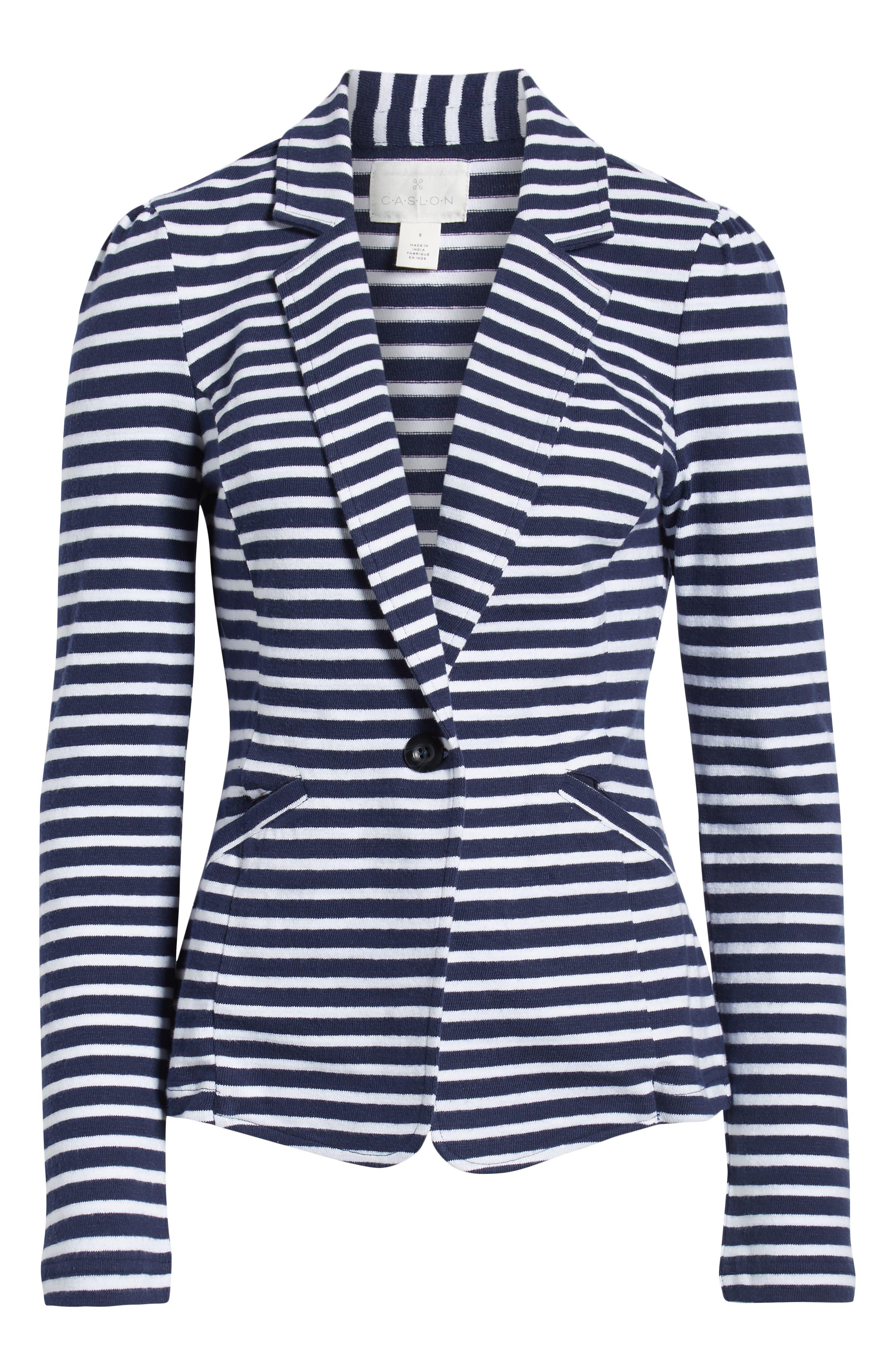 CASLON<SUP>®</SUP>,                             Knit One-Button Blazer,                             Alternate thumbnail 6, color,                             NAVY- WHITE STRIPE