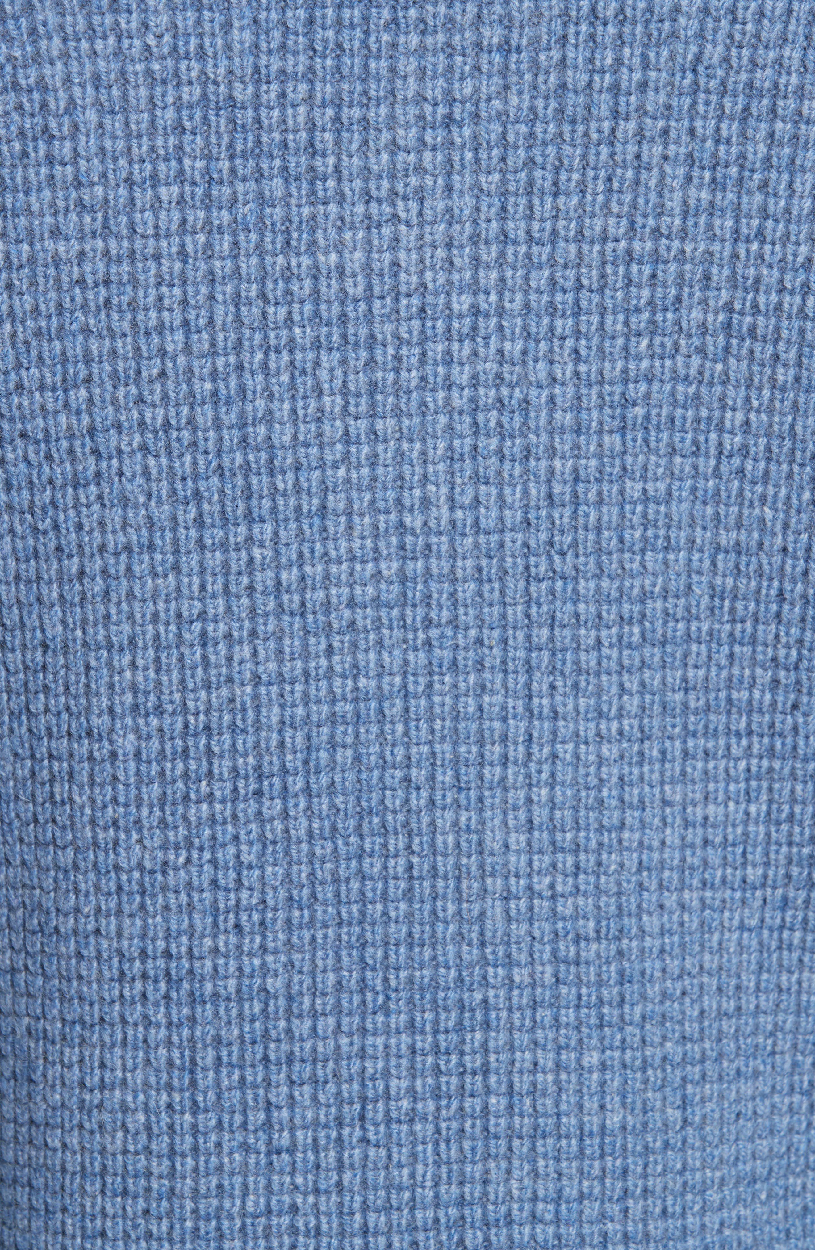 Waffle Knit Cashmere Crewneck Sweater,                             Alternate thumbnail 5, color,                             LIGHT BLUE