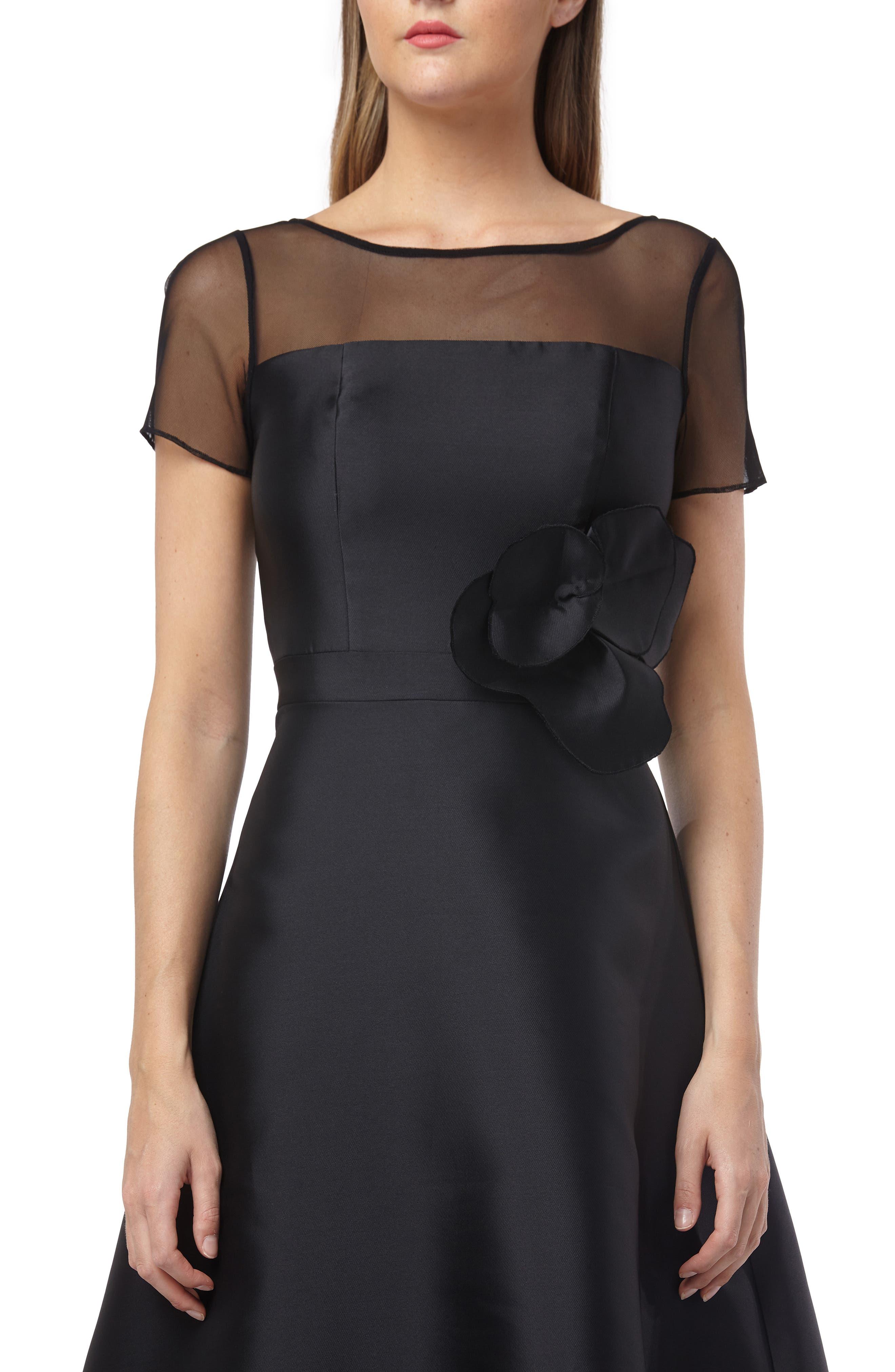 KAY UNGER,                             Illusion Yoke Fit & Flare Cocktail Dress,                             Alternate thumbnail 4, color,                             BLACK