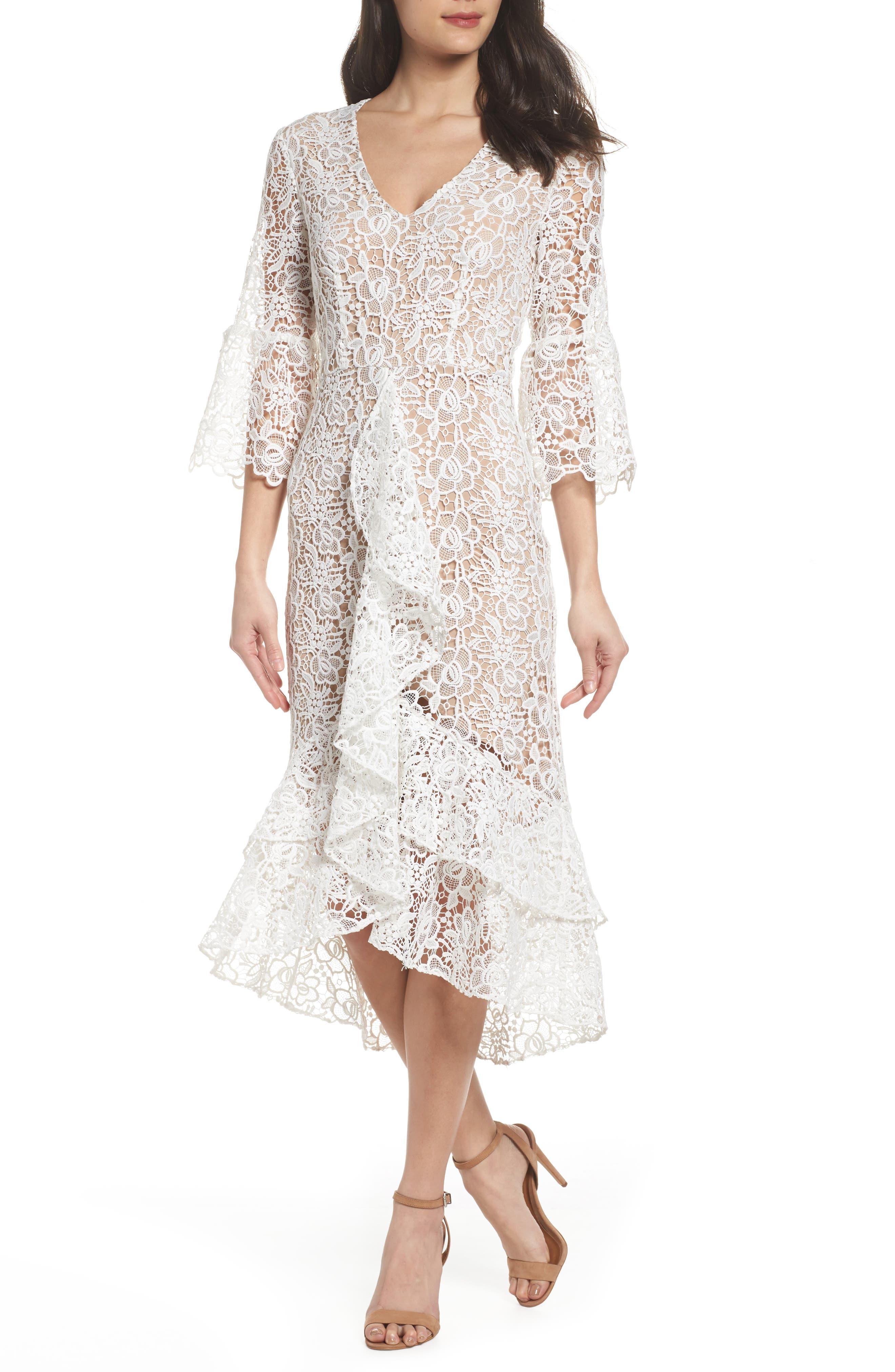 Ruffle Lace Midi Dress,                         Main,                         color, 100