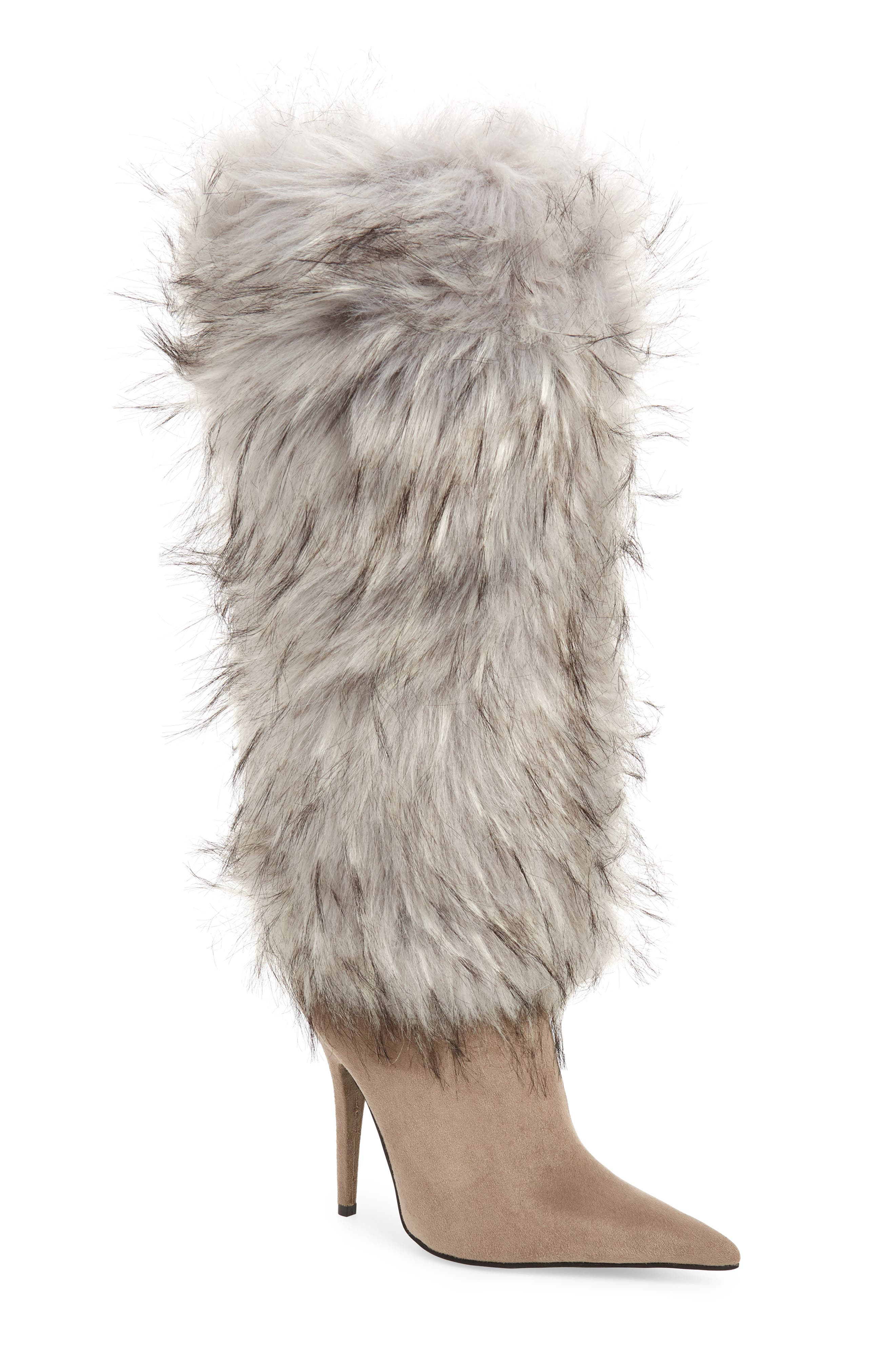 Vedet Faux Fur Knee High Boot,                             Main thumbnail 1, color,                             DARK TAUPE SUEDE