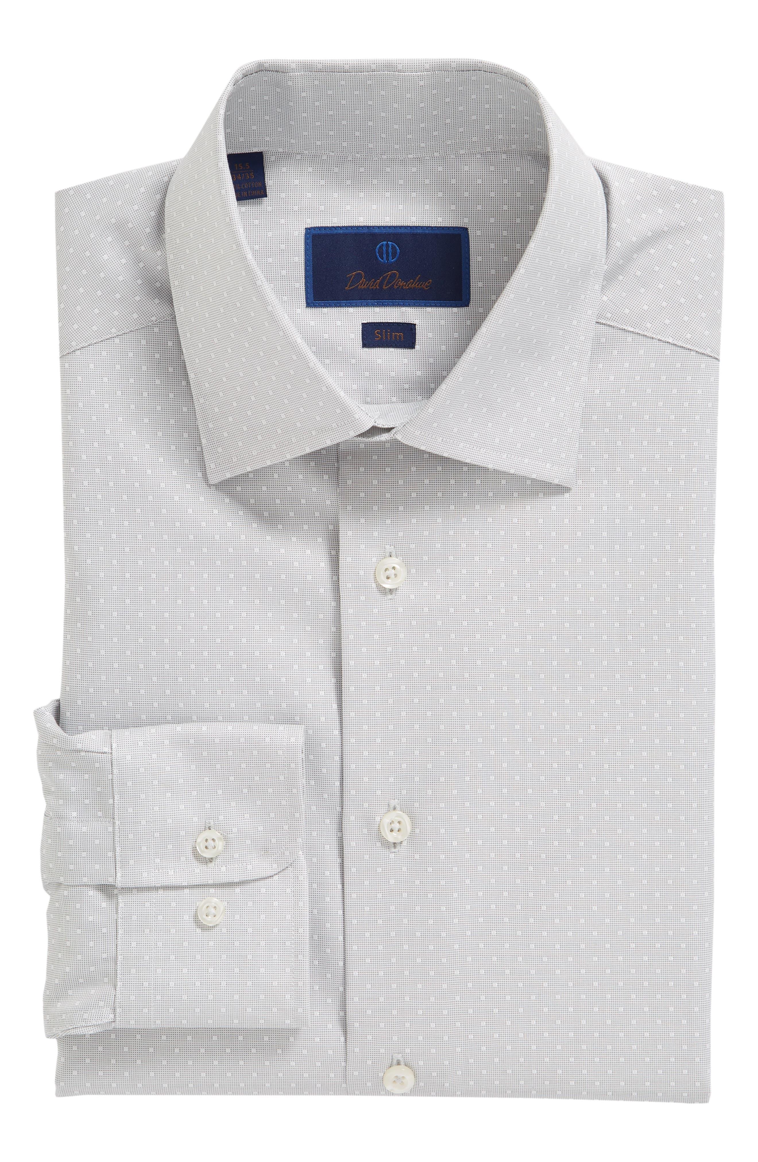 Slim Fit Dot Dress Shirt,                             Alternate thumbnail 5, color,                             GRAY