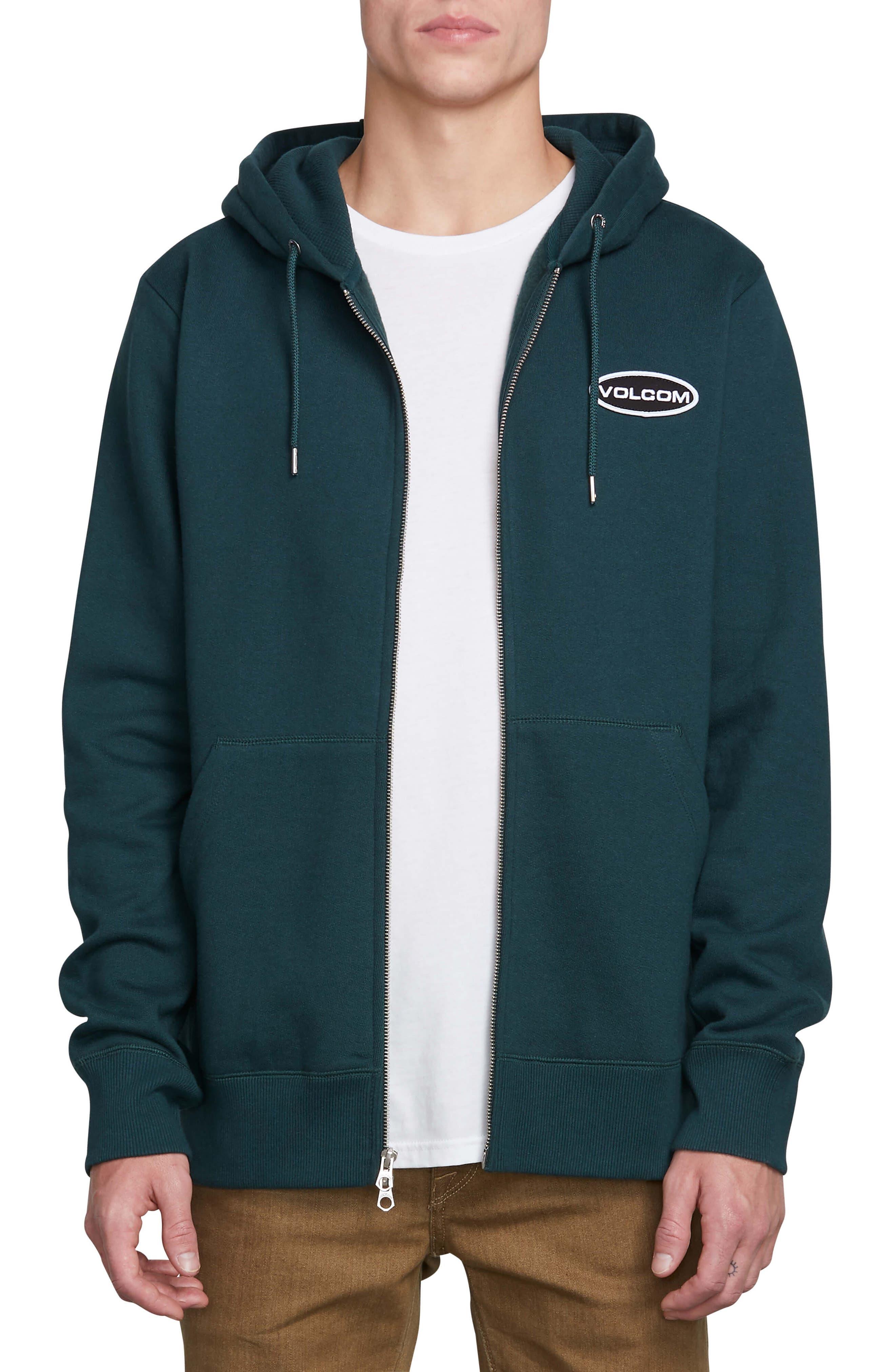 VOLCOM Shop Zip Hoodie Jacket, Main, color, DARK PINE