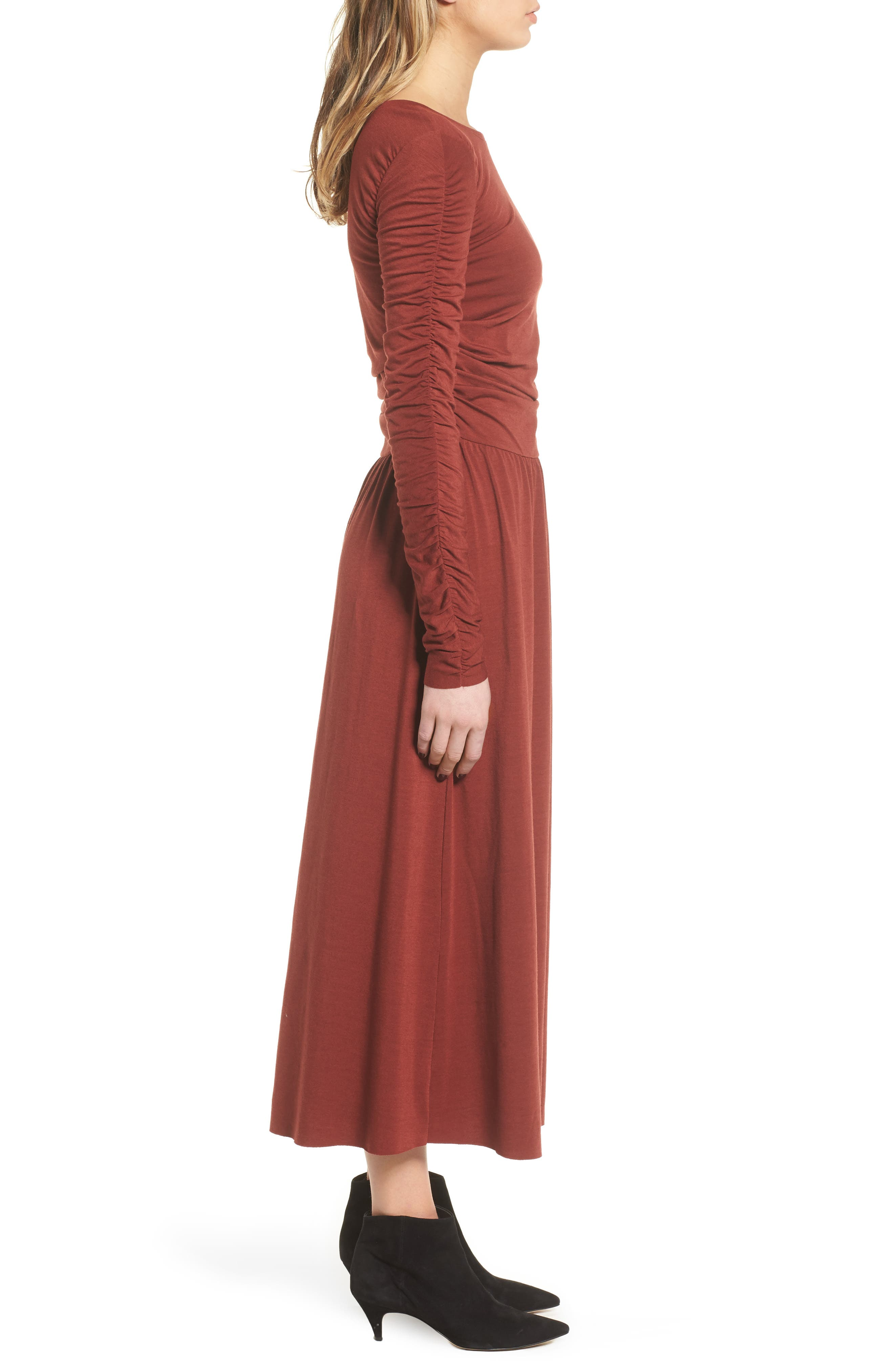 Ruched Jersey Knit Dress,                             Alternate thumbnail 3, color,                             200