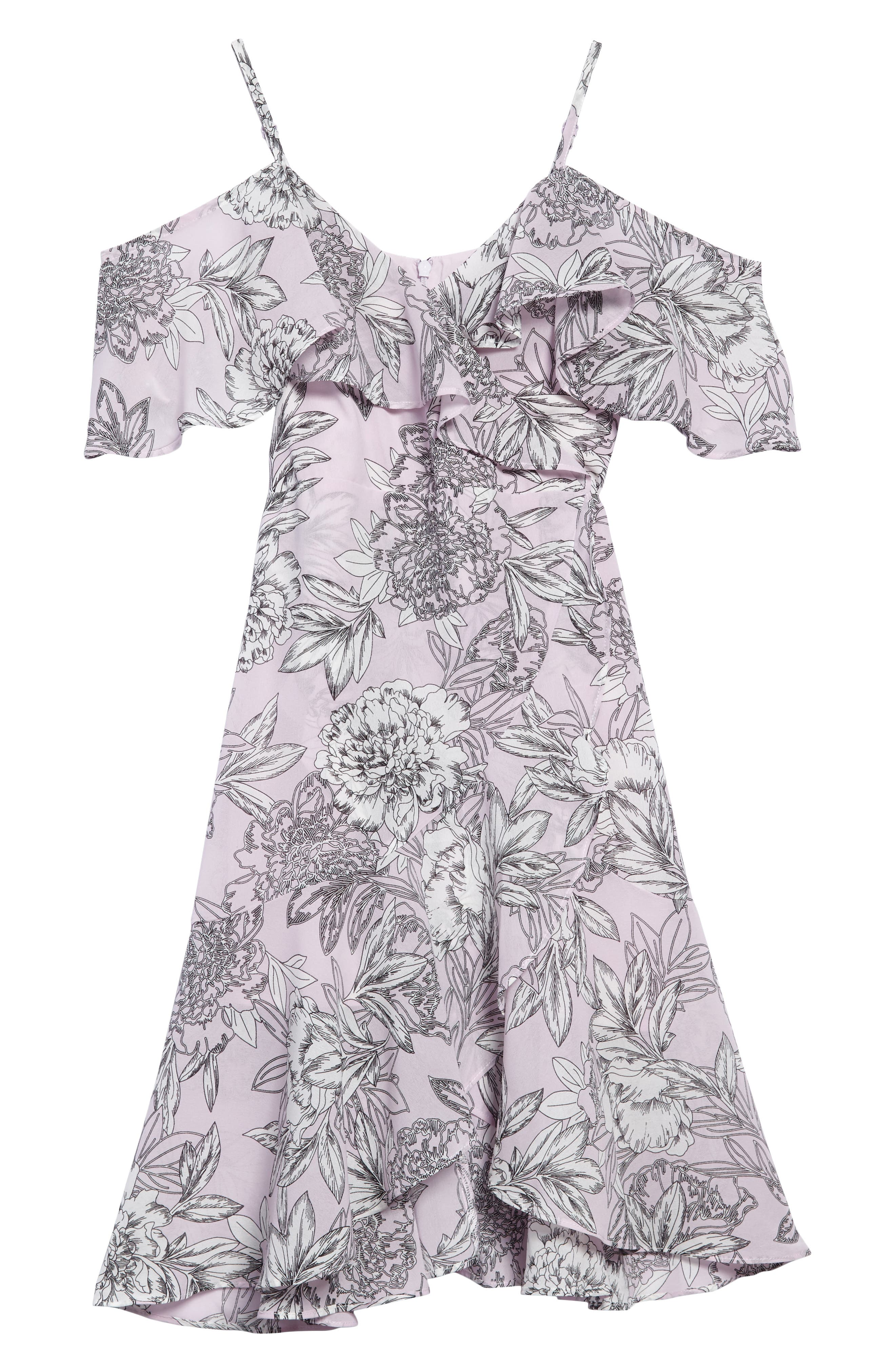 Frankie Ruffle Cold Shoulder Dress,                             Main thumbnail 1, color,                             028
