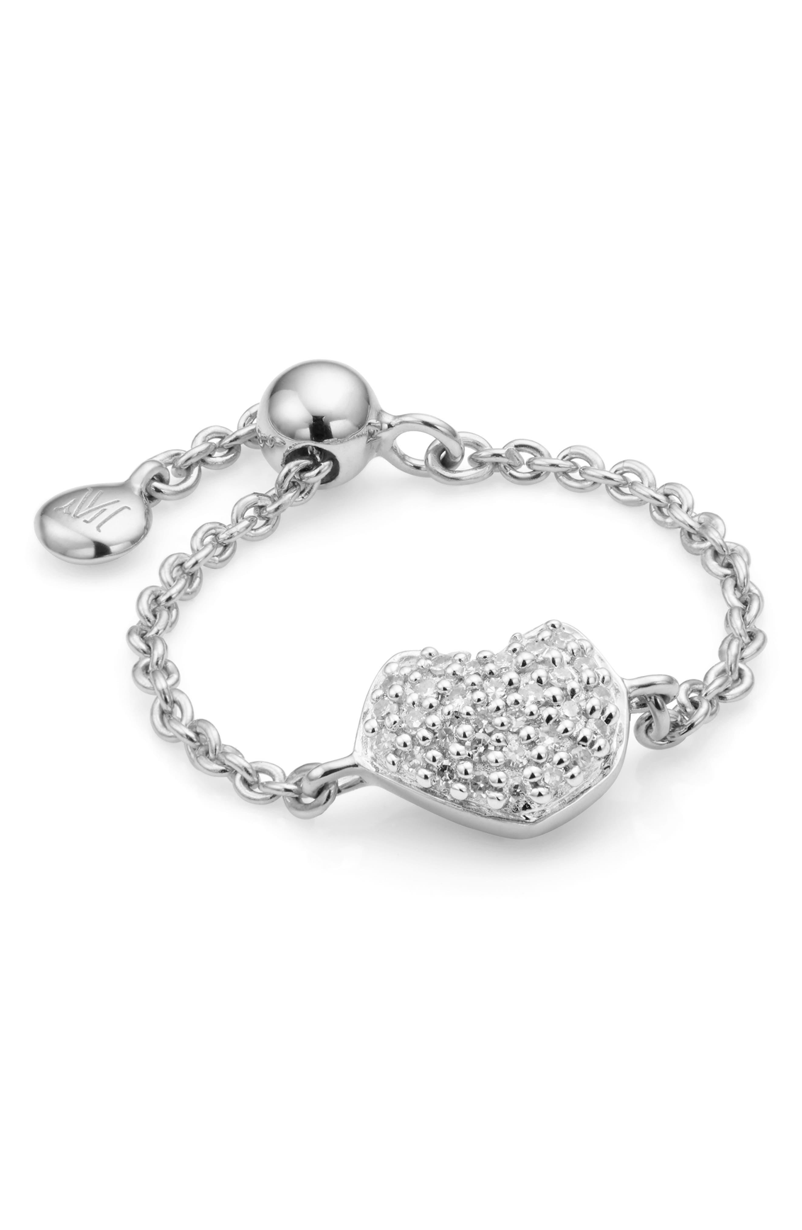 Nura Mini Heart Friendship Chain Ring,                         Main,                         color, SILVER/ DIAMOND
