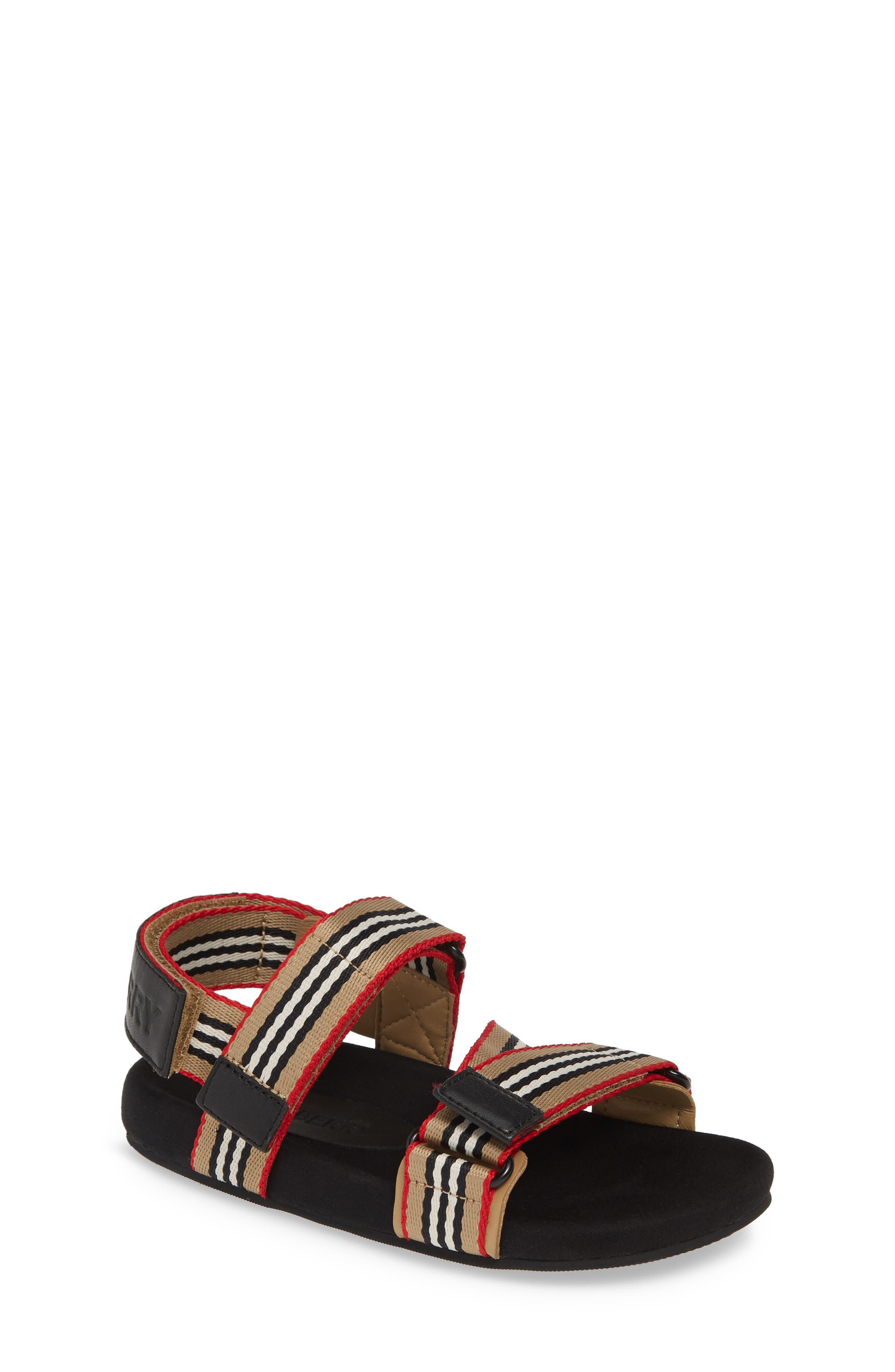 BURBERRY,                             Redmire Sandal,                             Main thumbnail 1, color,                             ARCH BEIGE/BLACK