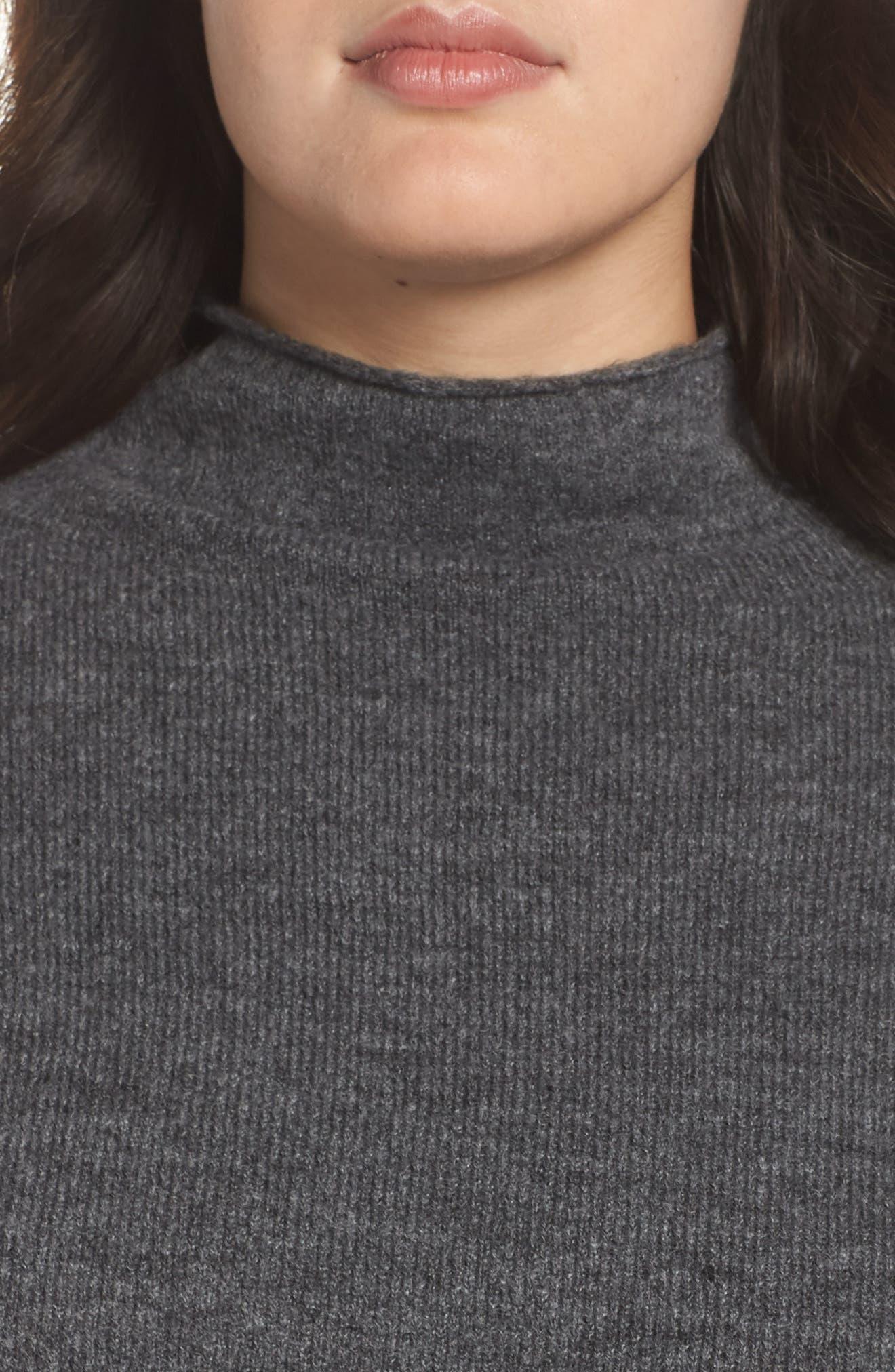 Cozy Mock Neck Sweater,                             Alternate thumbnail 9, color,                             GREY MEDIUM CHARCOAL HEATHER