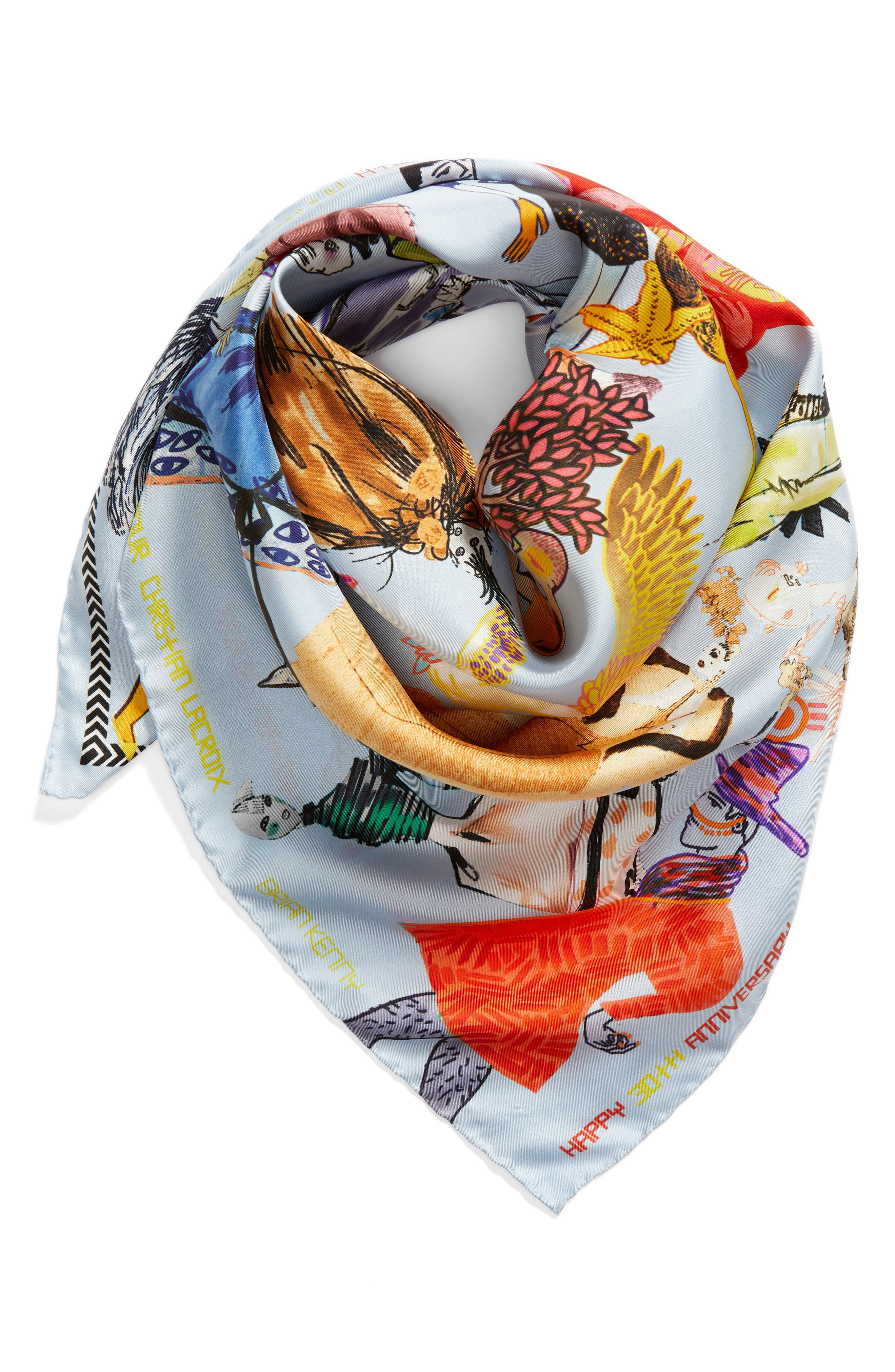 x Brian Kenny Sweetie Silk Scarf,                             Alternate thumbnail 3, color,                             419