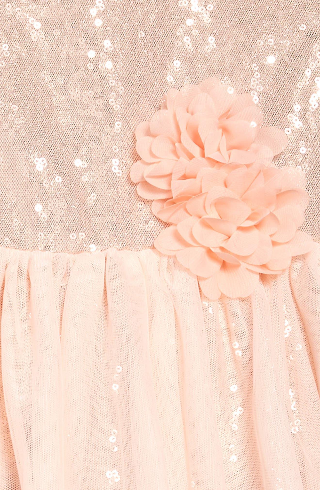 AVA & YELLY,                             Floral Appliqué Sequin Dress,                             Alternate thumbnail 3, color,                             BLUSH