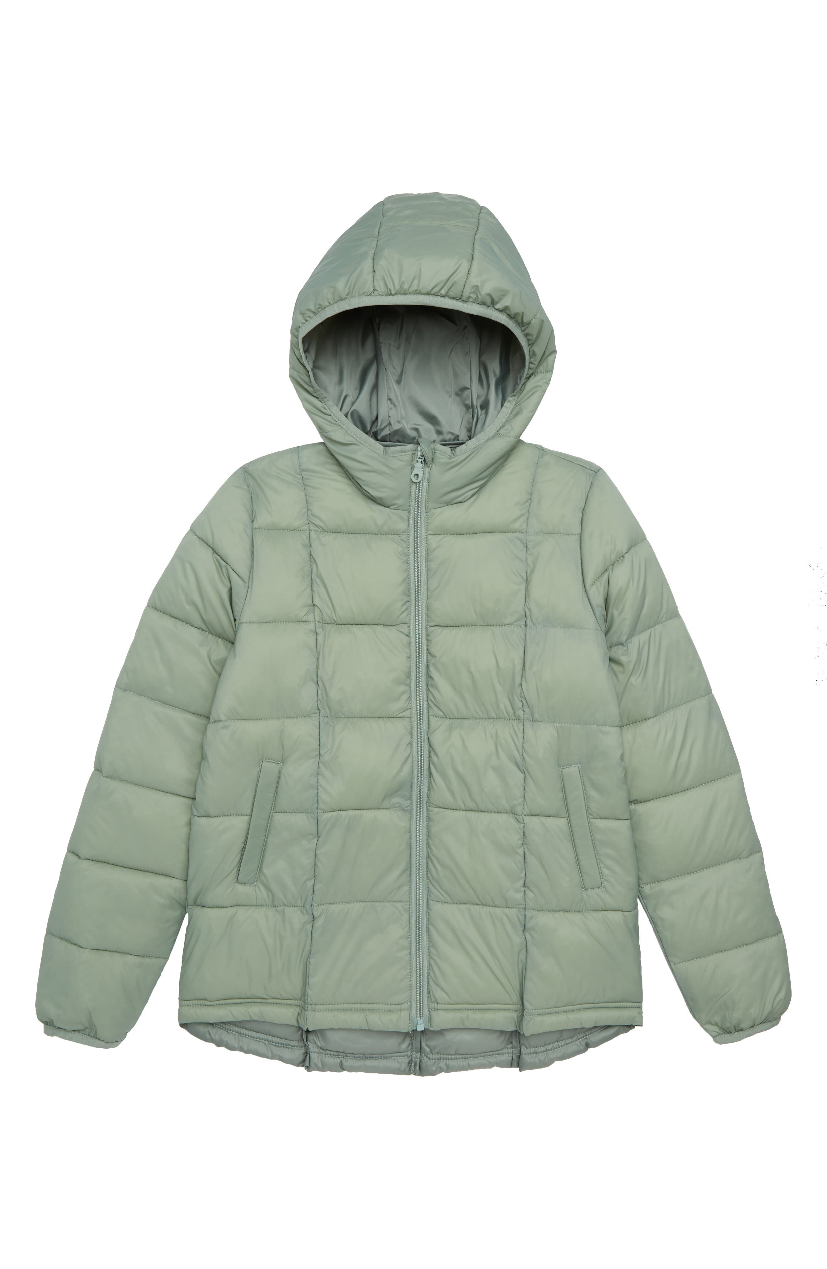 Packable Puffer Jacket,                         Main,                         color, GREEN SEA SPRAY