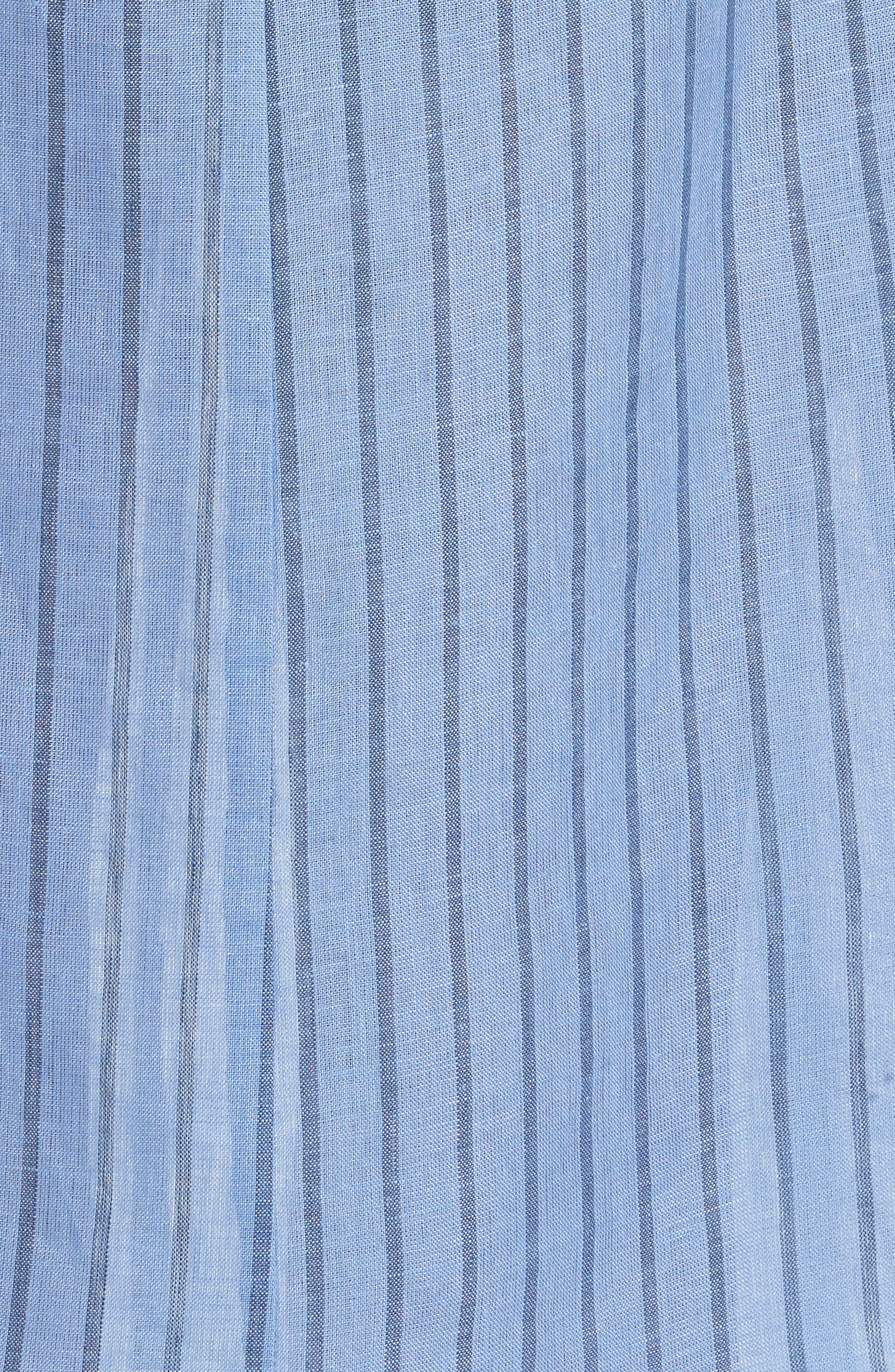 Oriska Stripe Linen Slipdress,                             Alternate thumbnail 5, color,                             400