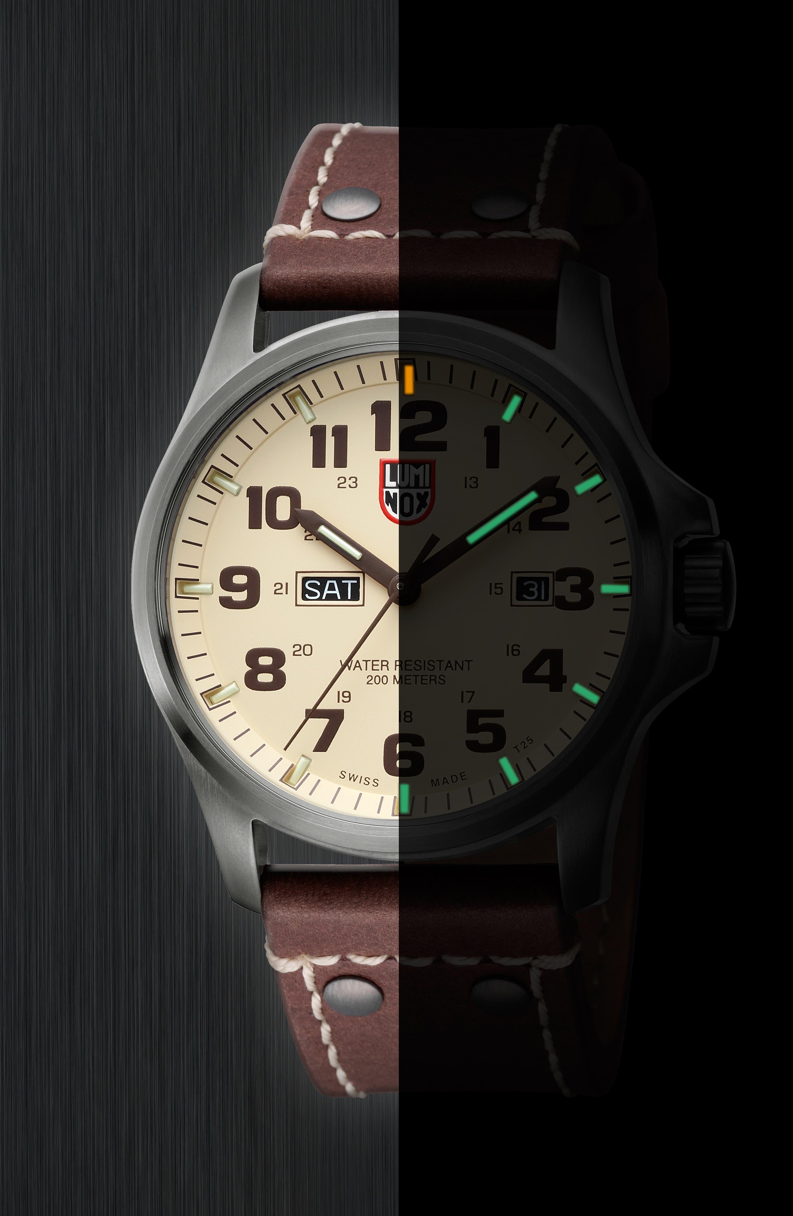 'Land - Atacama Field' Leather Strap Watch, 45mm,                             Alternate thumbnail 18, color,