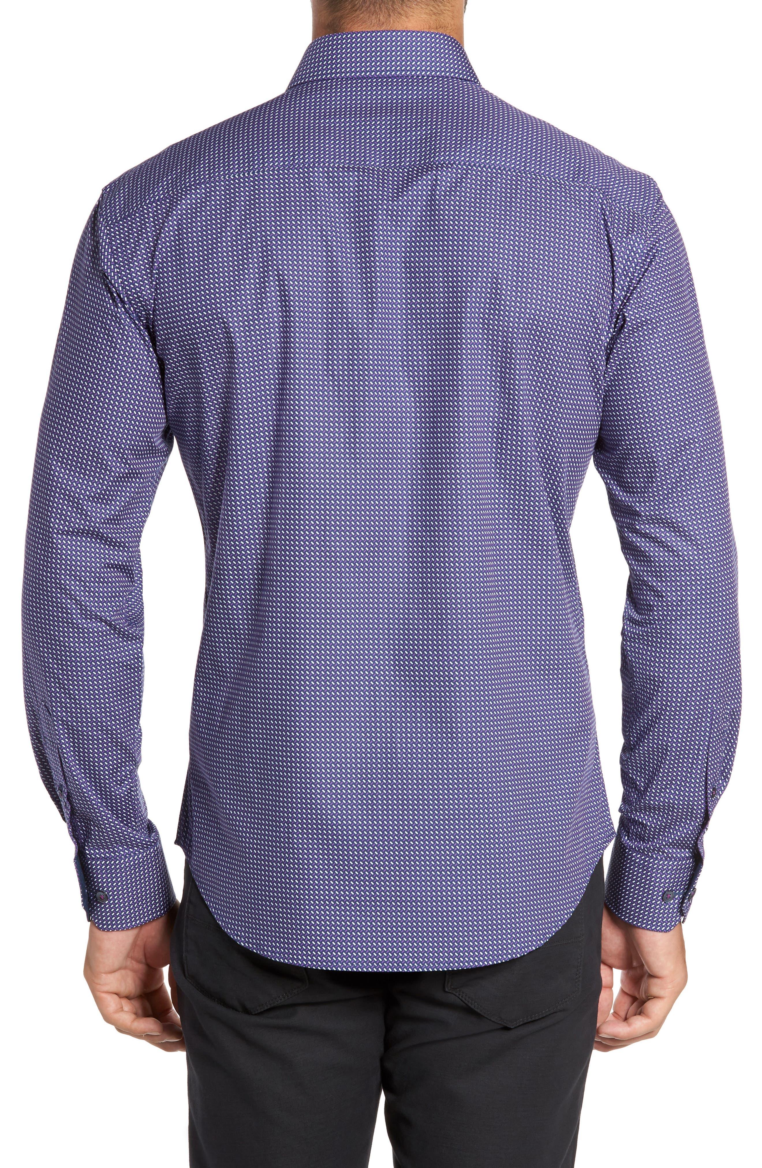Trim Fit Weave Print Sport Shirt,                             Alternate thumbnail 2, color,                             408