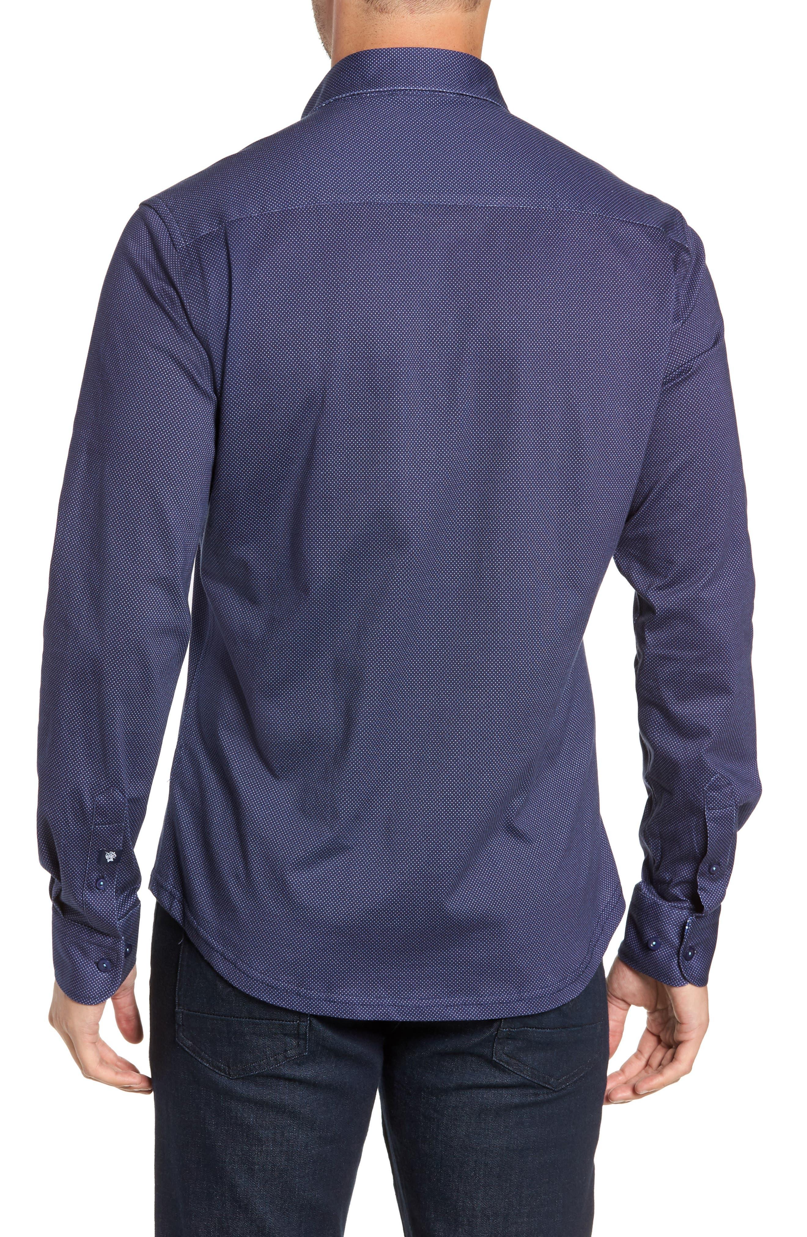 Trim Fit Knit Sport Shirt,                             Alternate thumbnail 3, color,                             NAVY