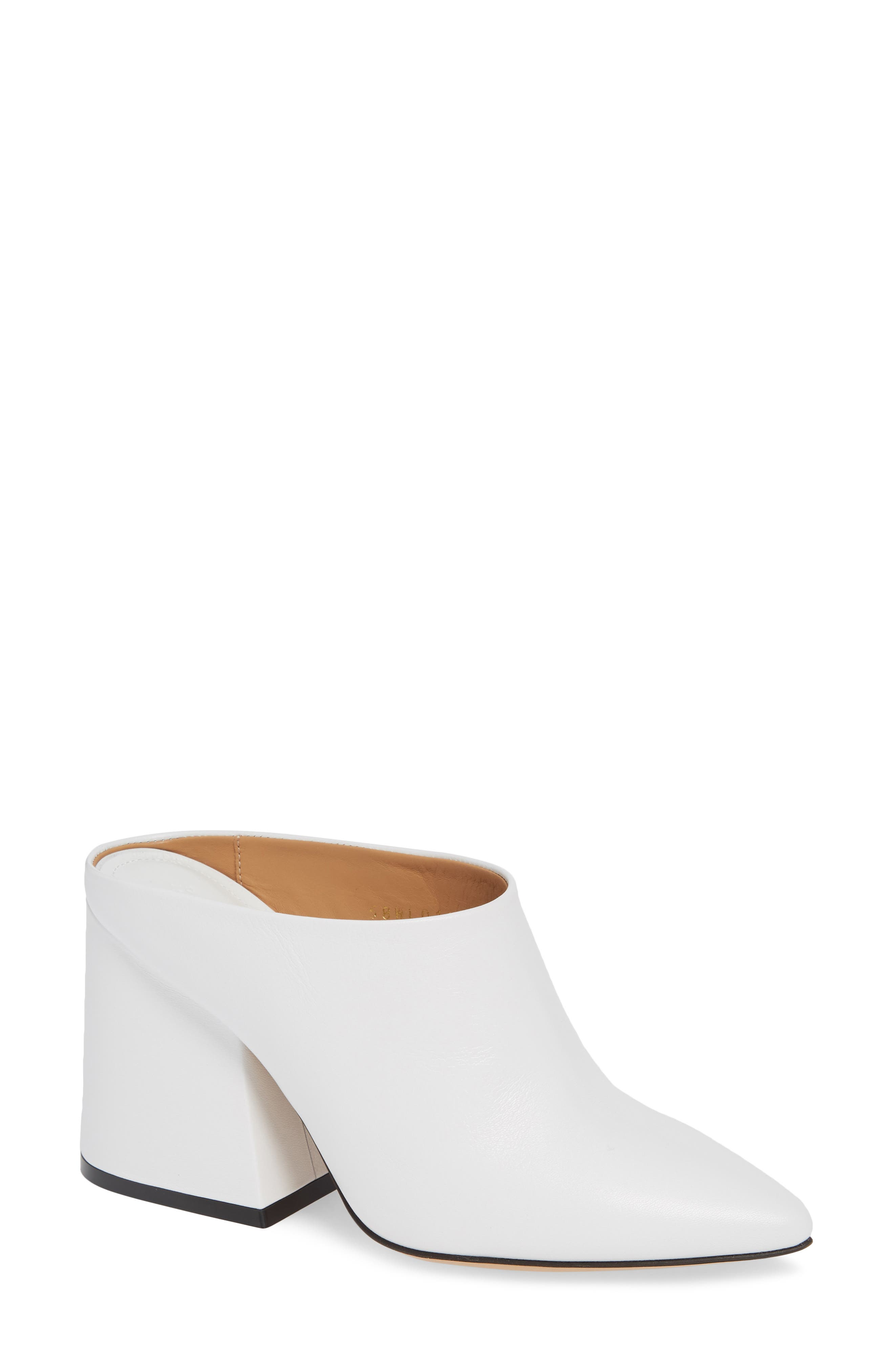 Pointy Toe Mule,                             Main thumbnail 1, color,                             WHITE