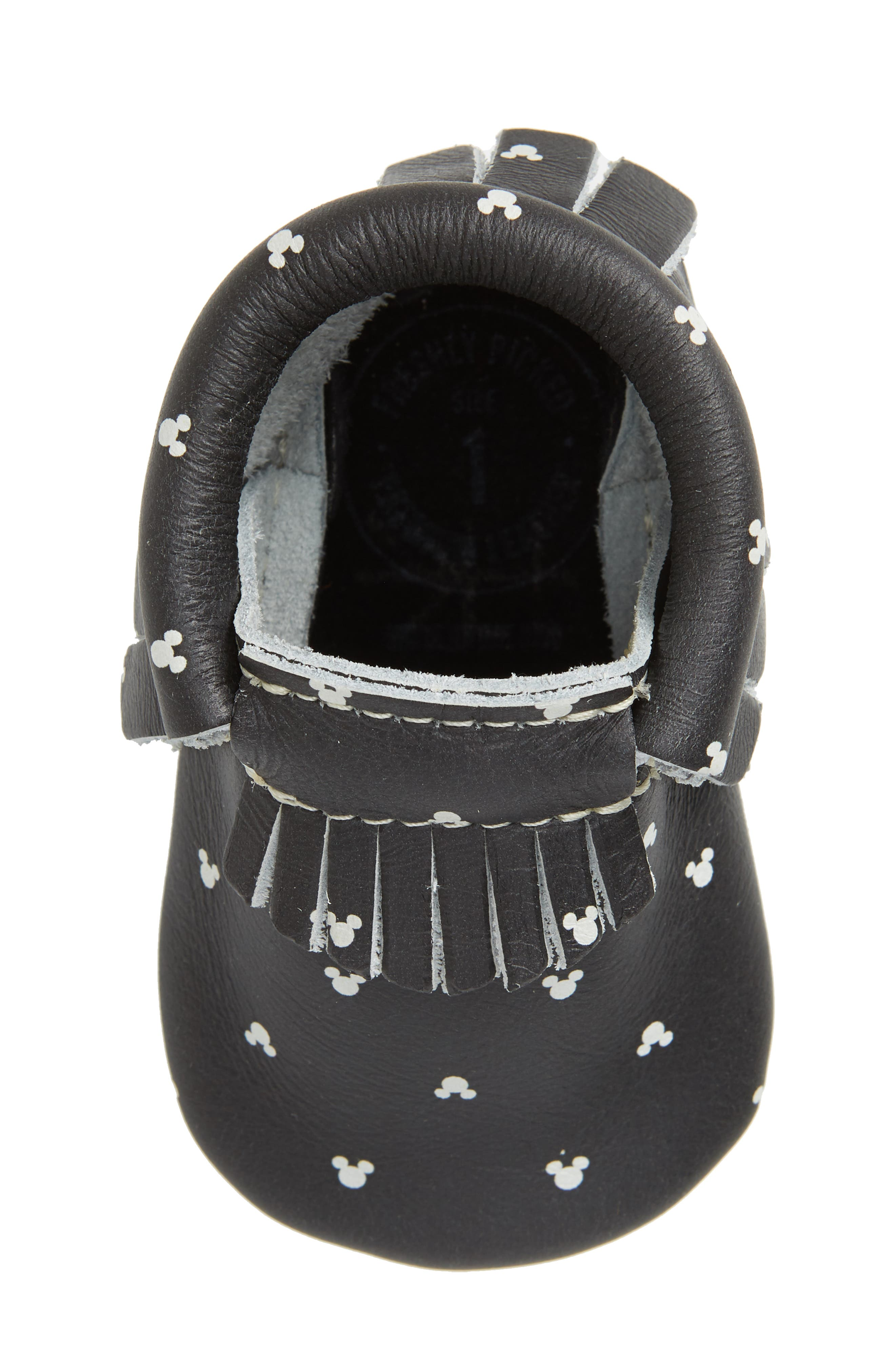 x Disney<sup>®</sup> Mouse Ears Print Moccasin,                             Alternate thumbnail 5, color,                             BLACK LEATHER