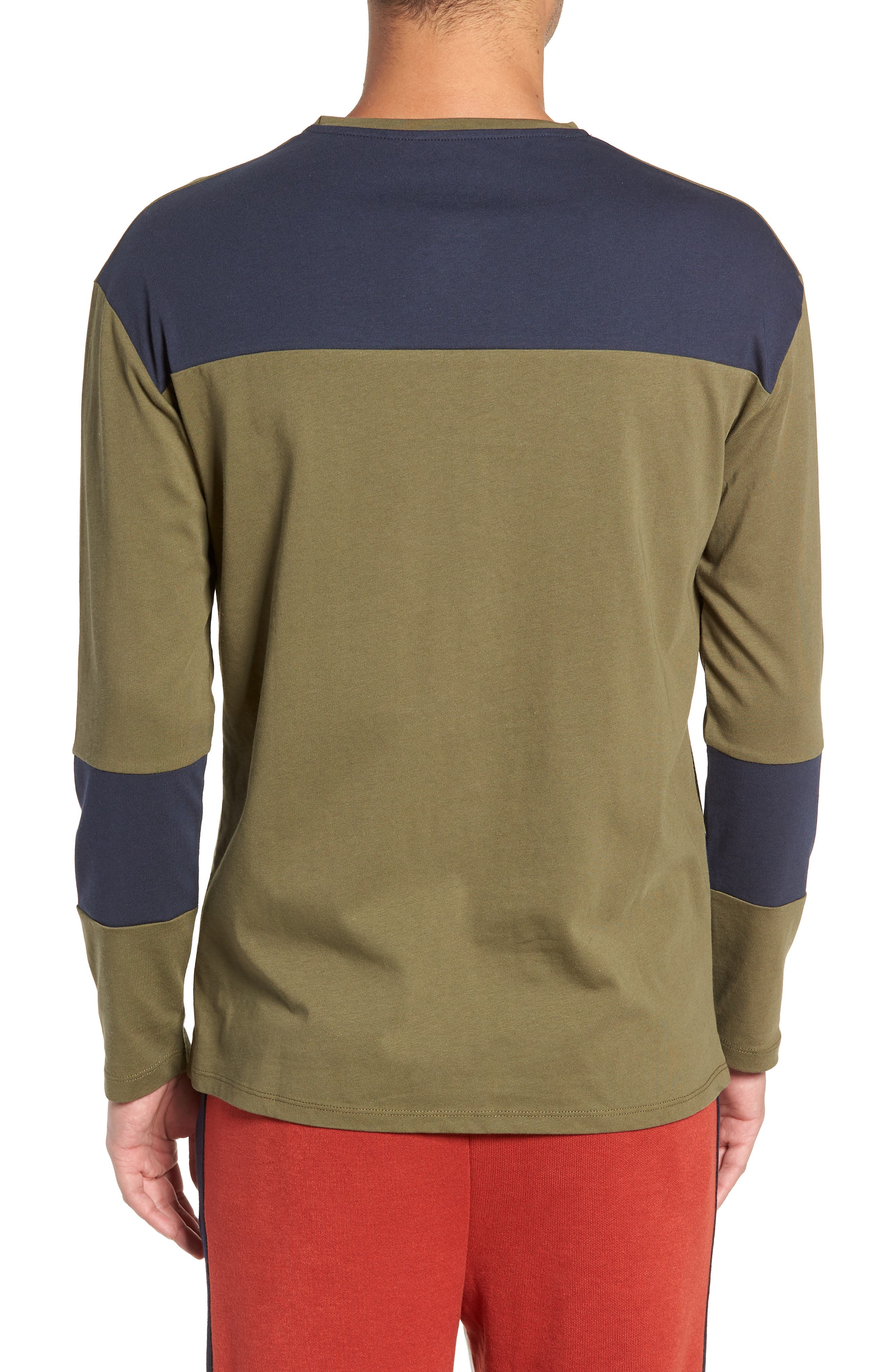 Colorblock Long Sleeve T-Shirt,                             Alternate thumbnail 2, color,                             OLIVE