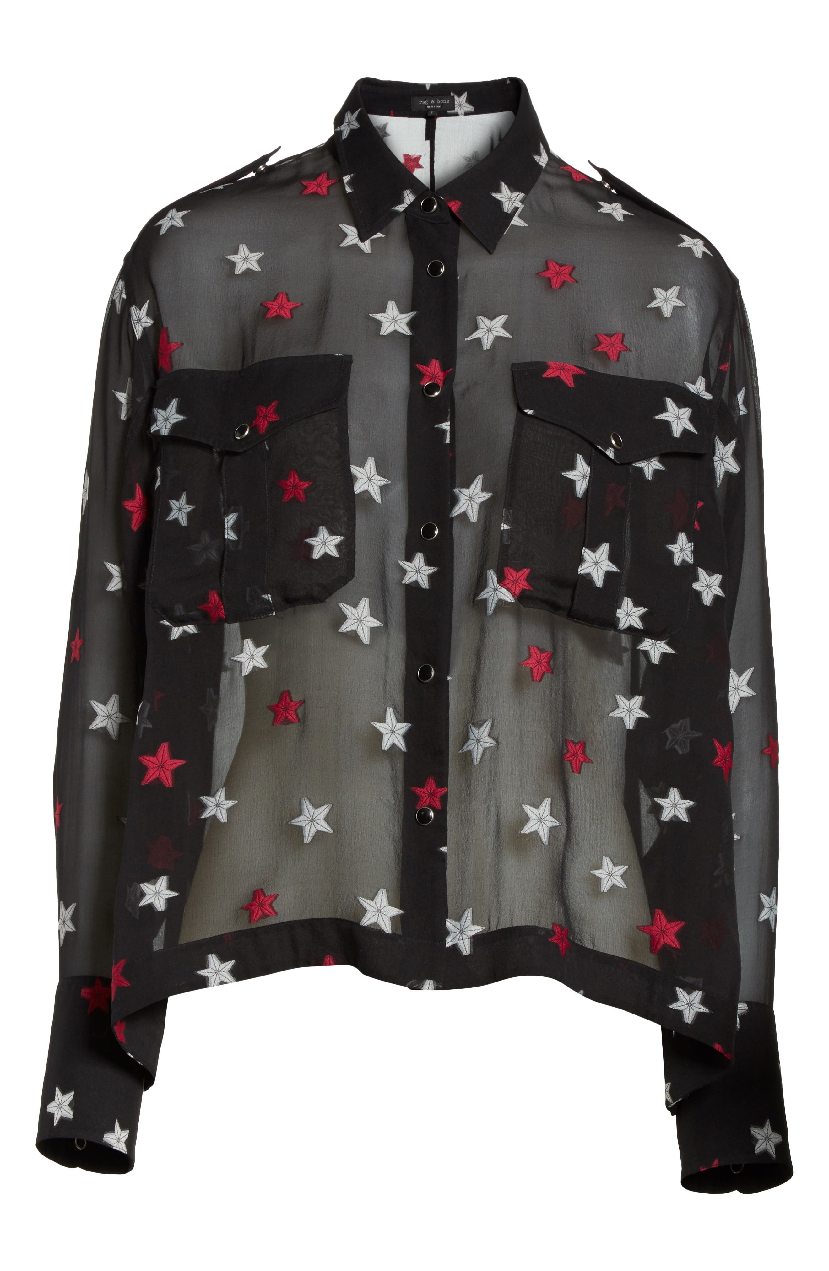 Pearson Star Print Silk Blend Shirt,                             Alternate thumbnail 6, color,                             012