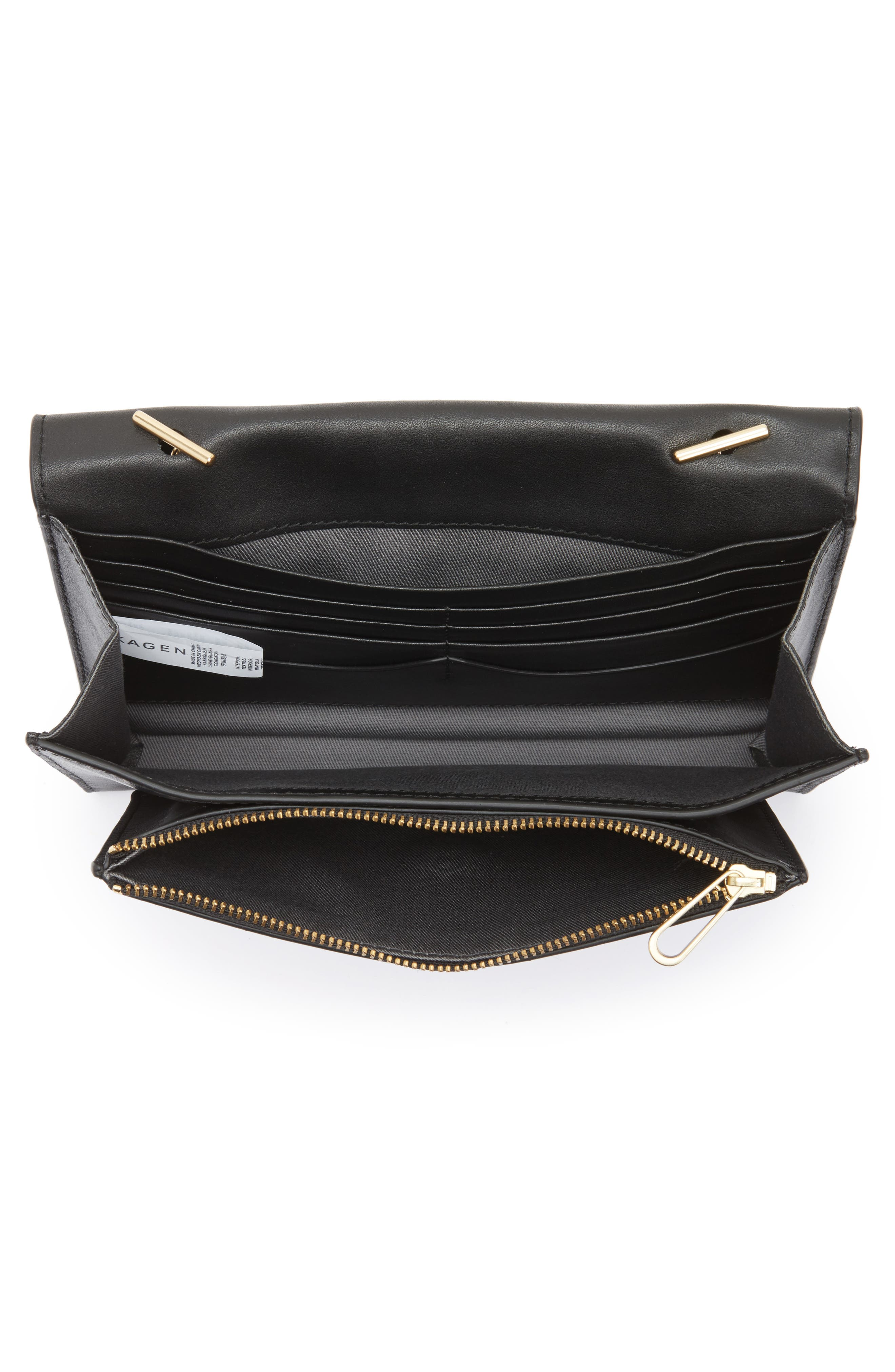 Eryka Leather Envelope Clutch with Detachable Chain,                             Alternate thumbnail 4, color,                             001