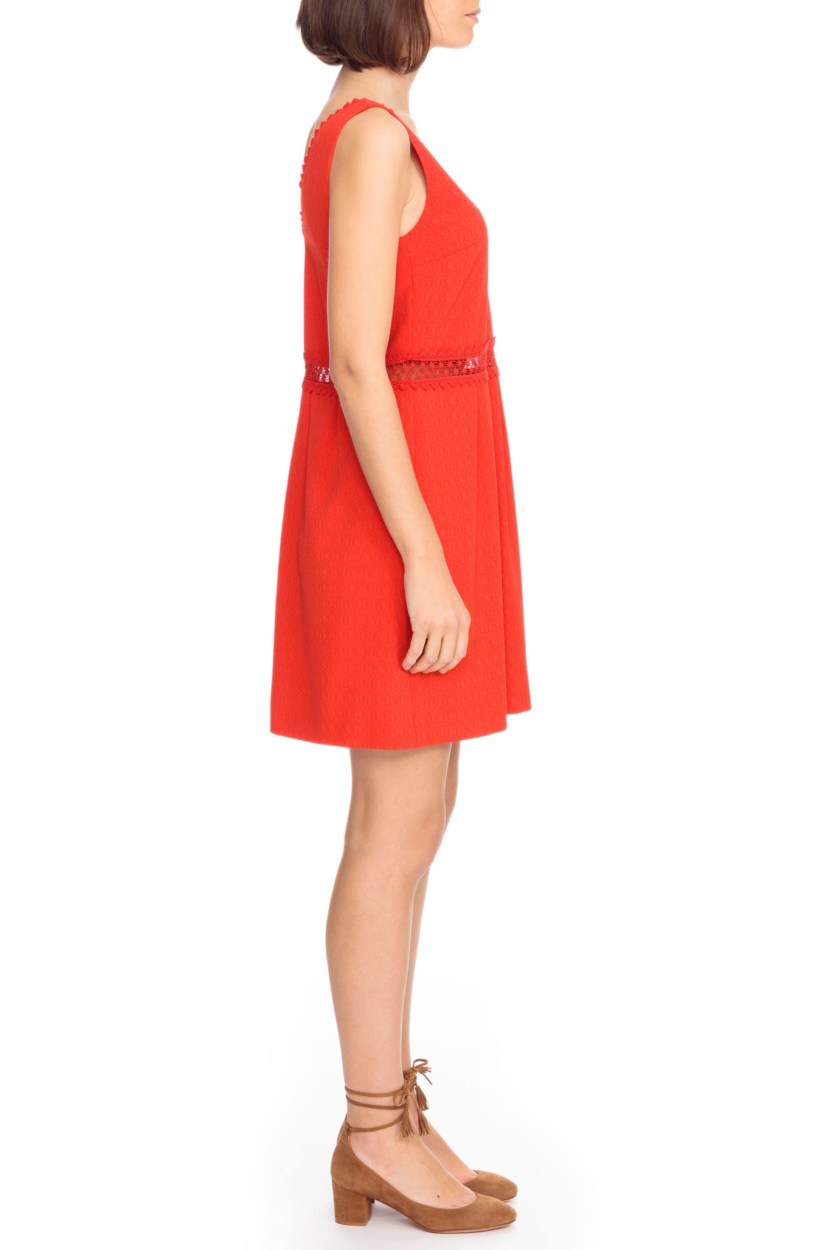 Daniela Lace Trim A-Line Dress,                             Alternate thumbnail 3, color,