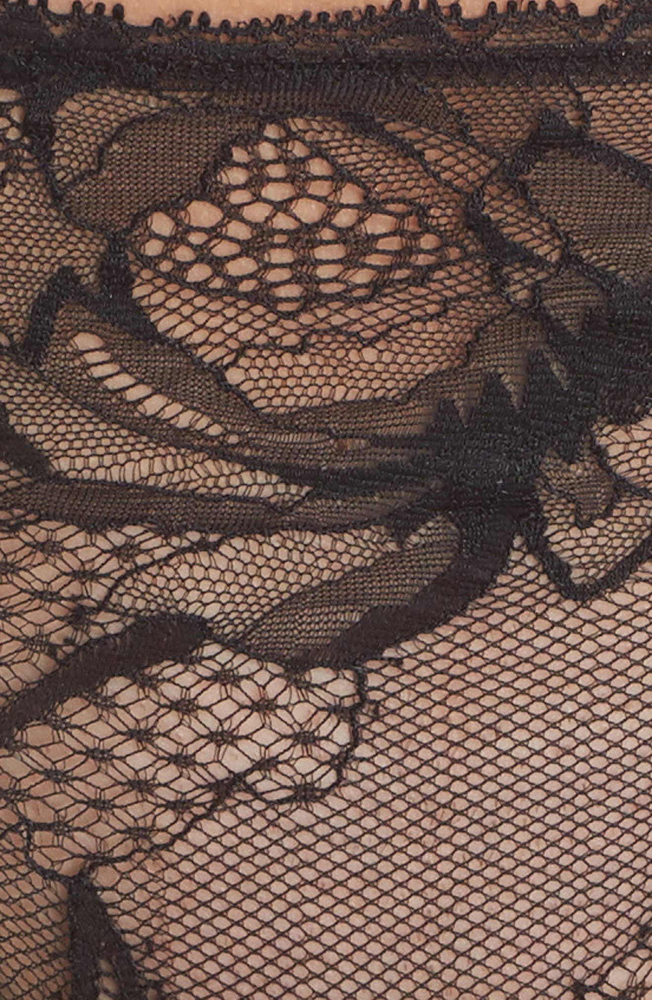 Black Rose Lace Thong,                             Alternate thumbnail 9, color,
