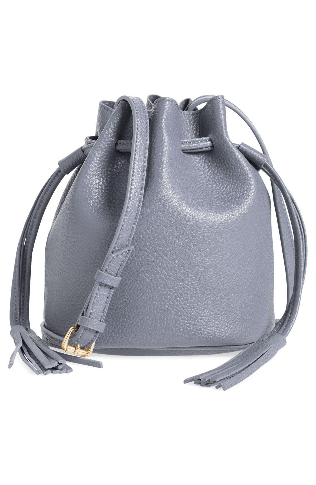 Mini Faux Leather Tassel Bucket Bag,                             Main thumbnail 5, color,