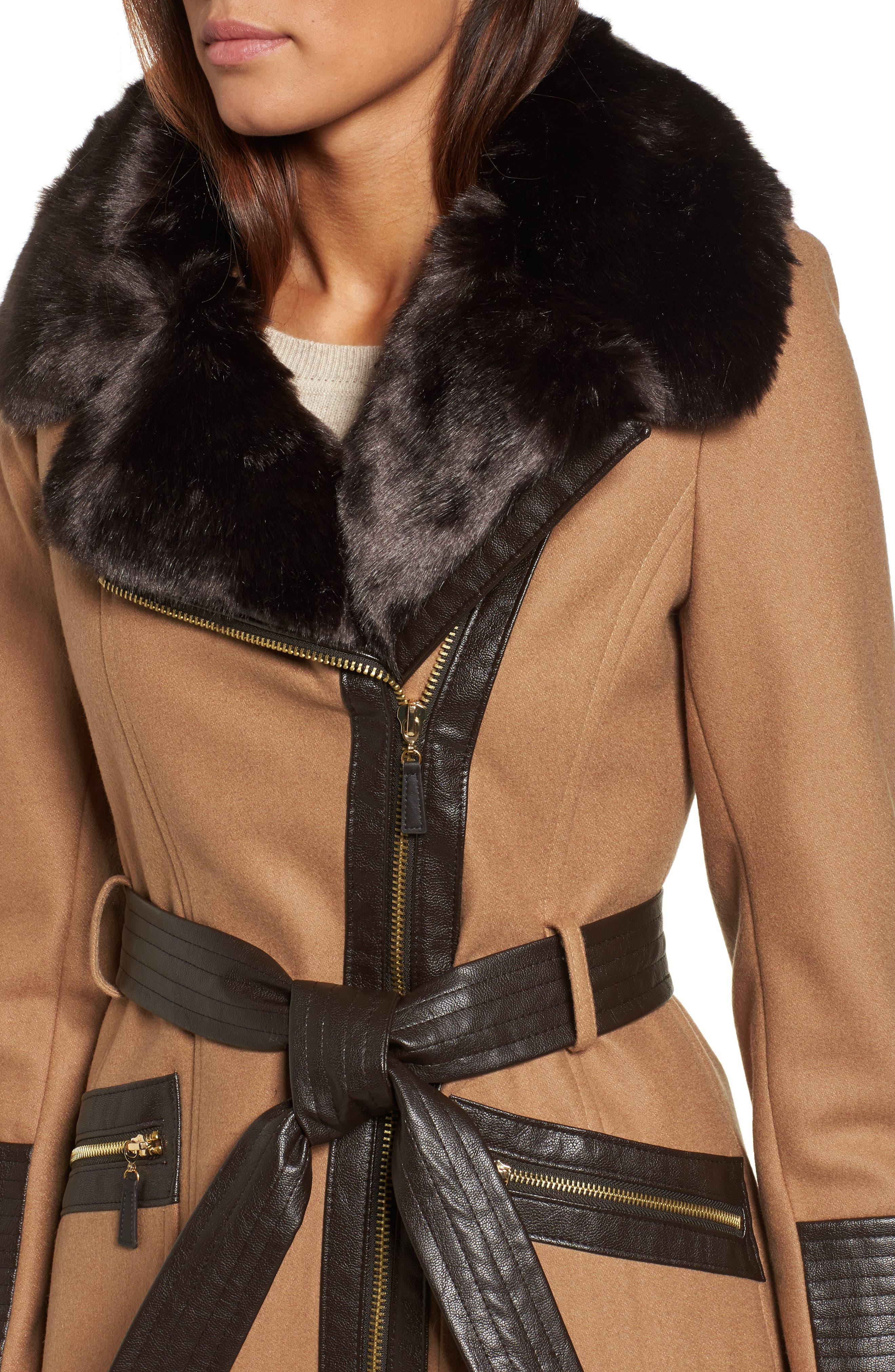 Faux Leather & Faux Fur Trim Belted Wool Blend Coat,                             Alternate thumbnail 26, color,
