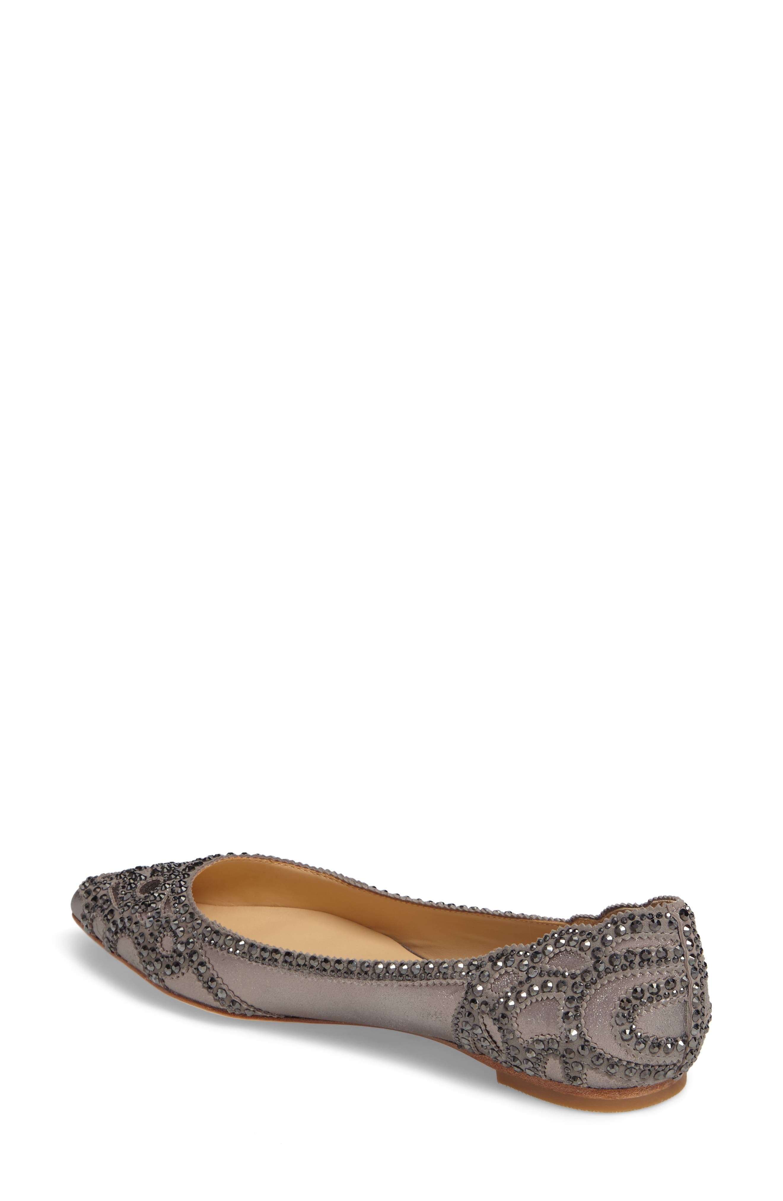 Gigi Crystal Pointy Toe Flat,                             Alternate thumbnail 7, color,