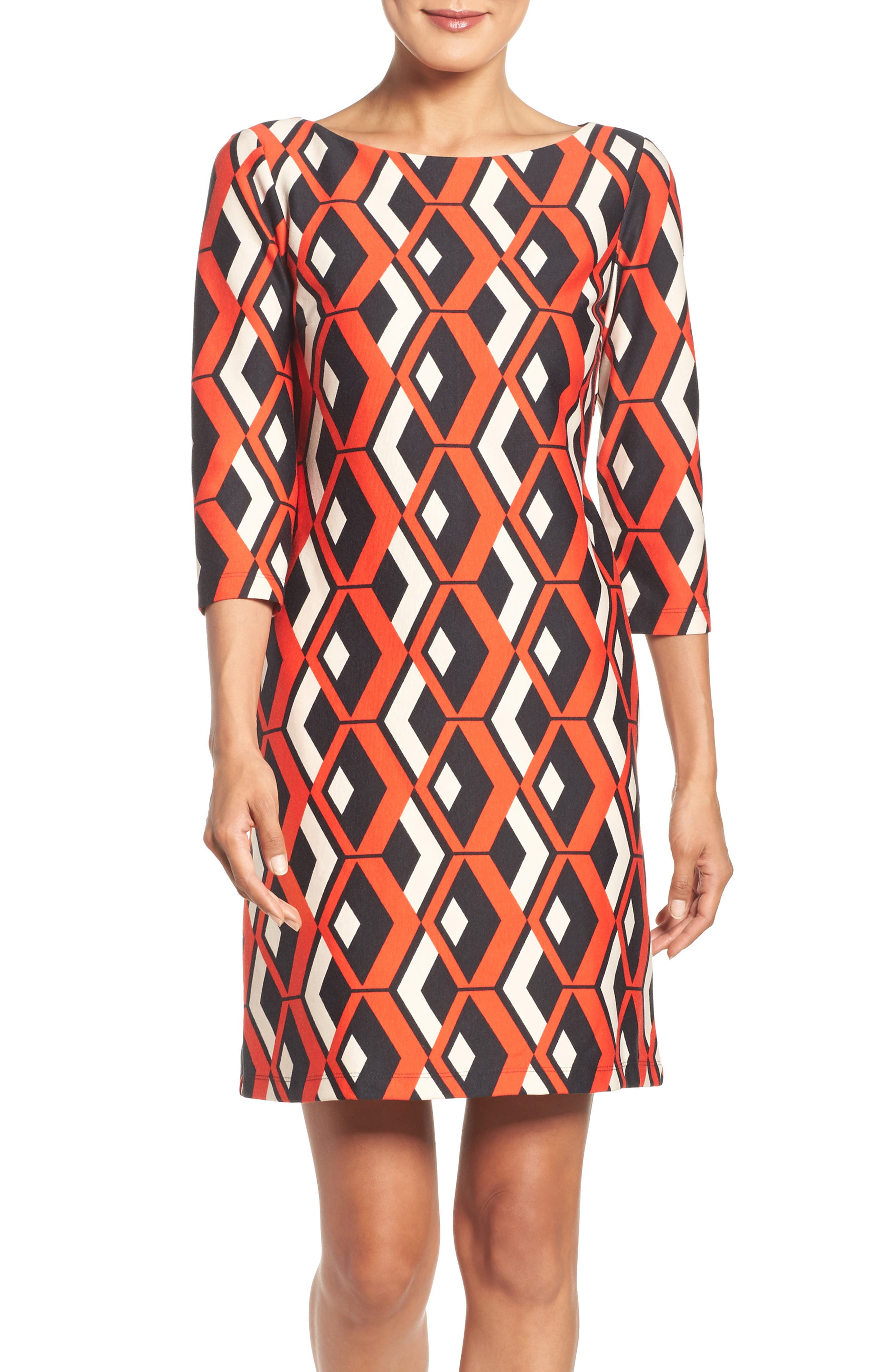 Geo Print Shift Dress,                             Alternate thumbnail 5, color,                             628