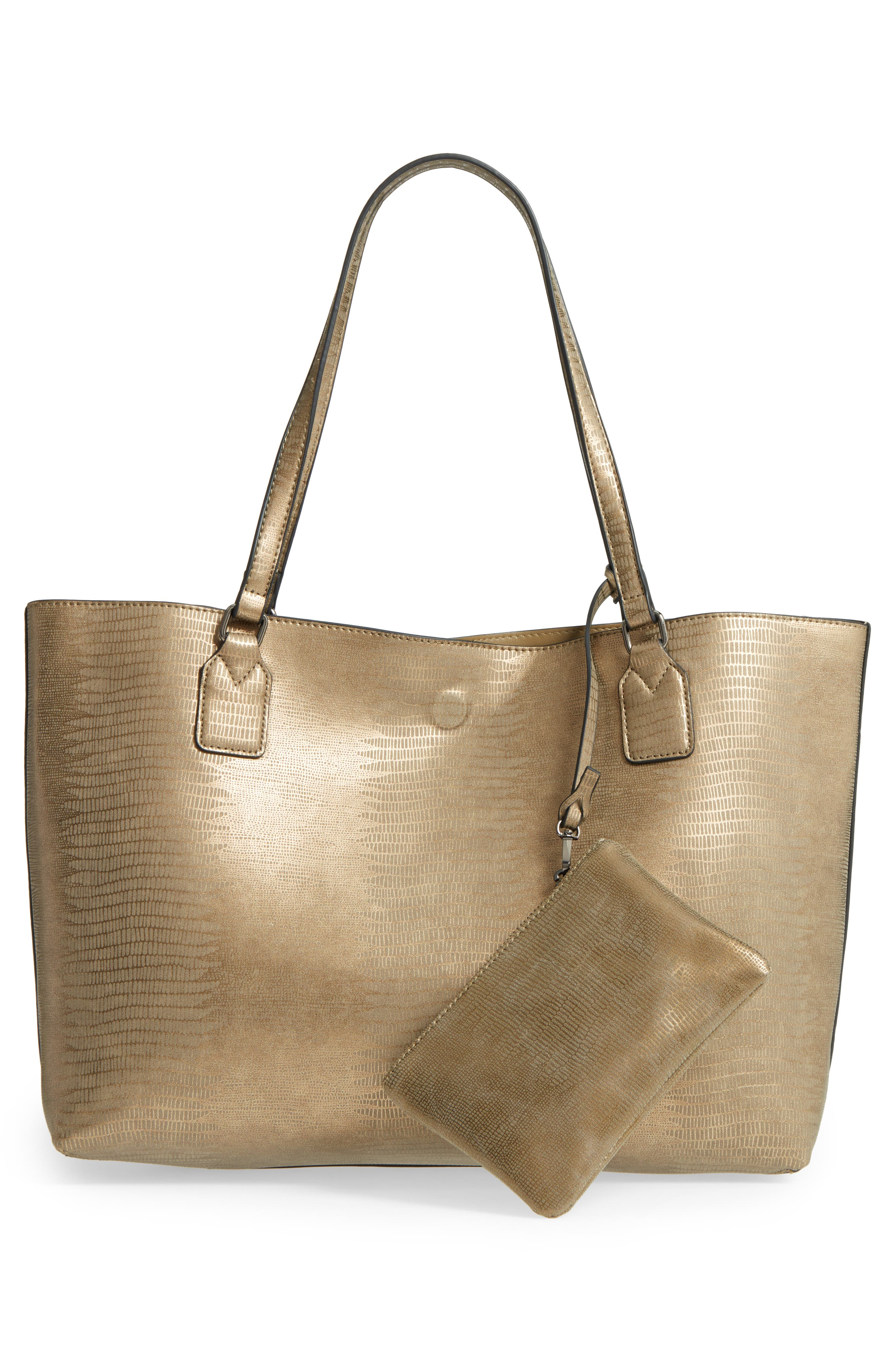 Snake Embossed Faux Leather Tote,                             Alternate thumbnail 3, color,                             020