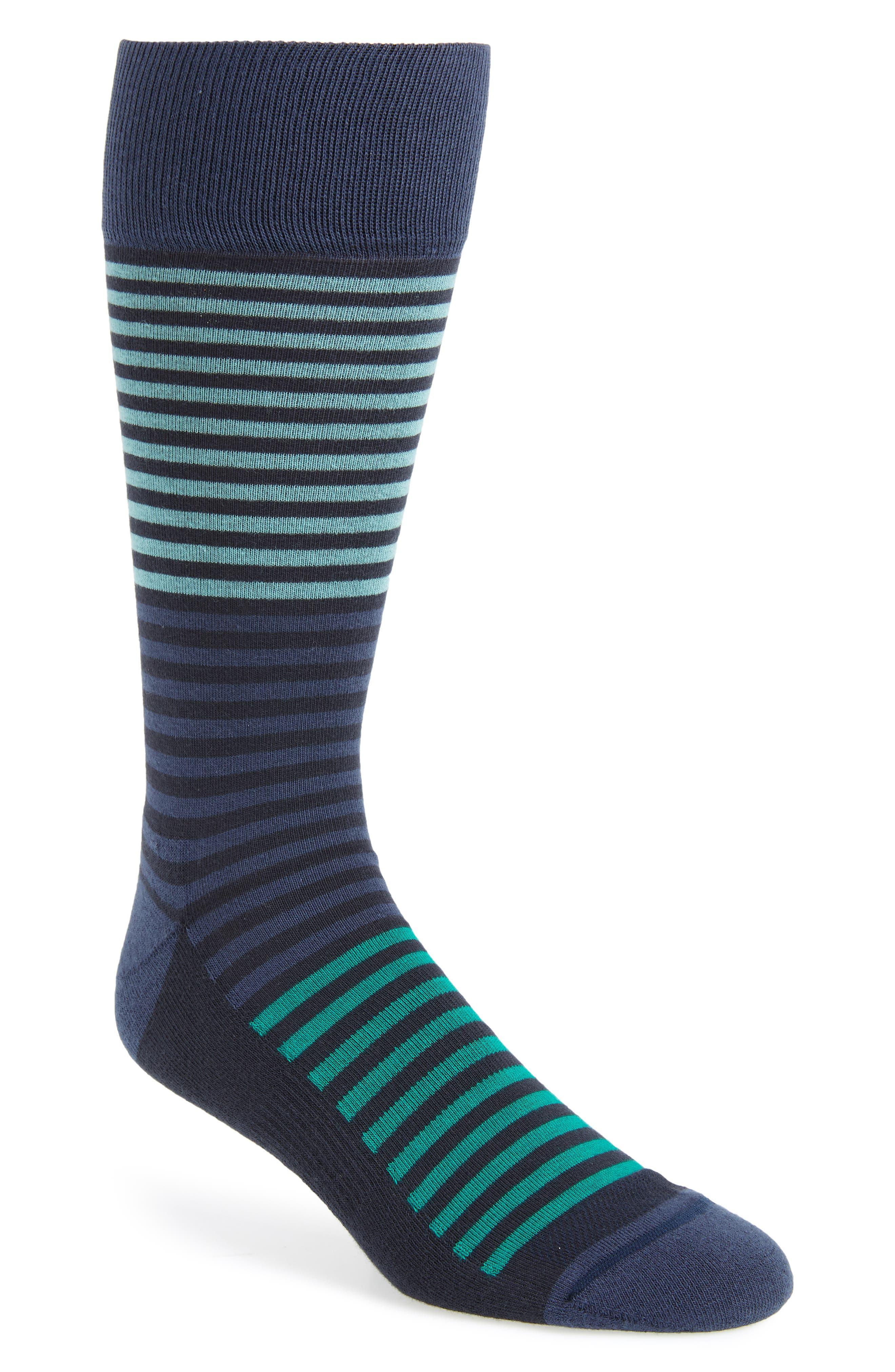 Stripe Socks,                             Main thumbnail 1, color,                             NAVY/ GREEN