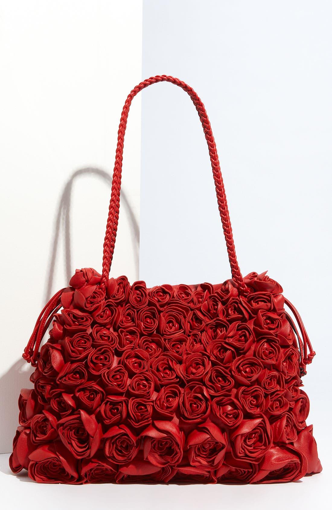 VALENTINO 'Nappa Rose' Leather Tote, Main, color, 610