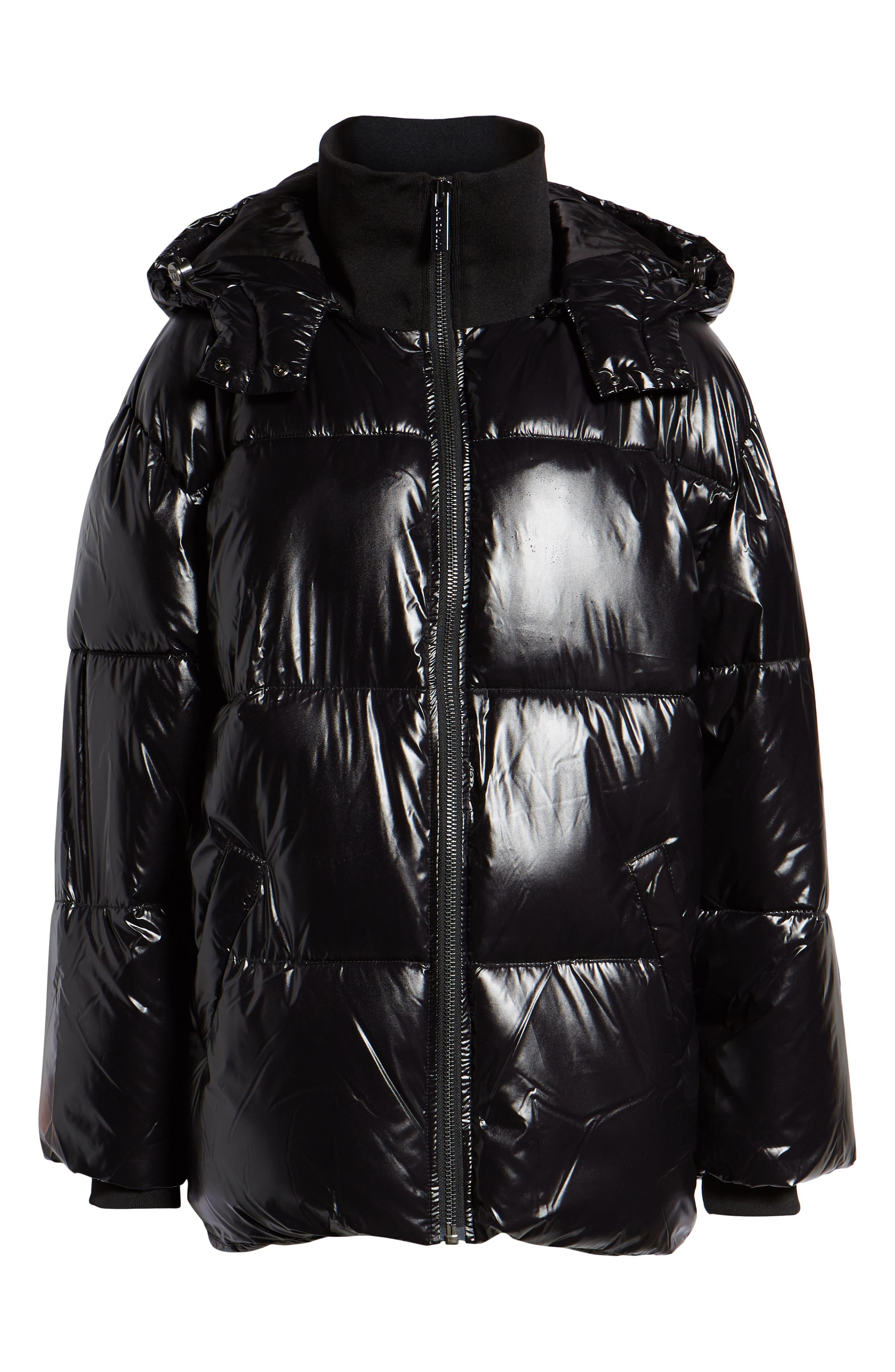 Glossy Puffer Coat,                             Alternate thumbnail 6, color,                             BLACK
