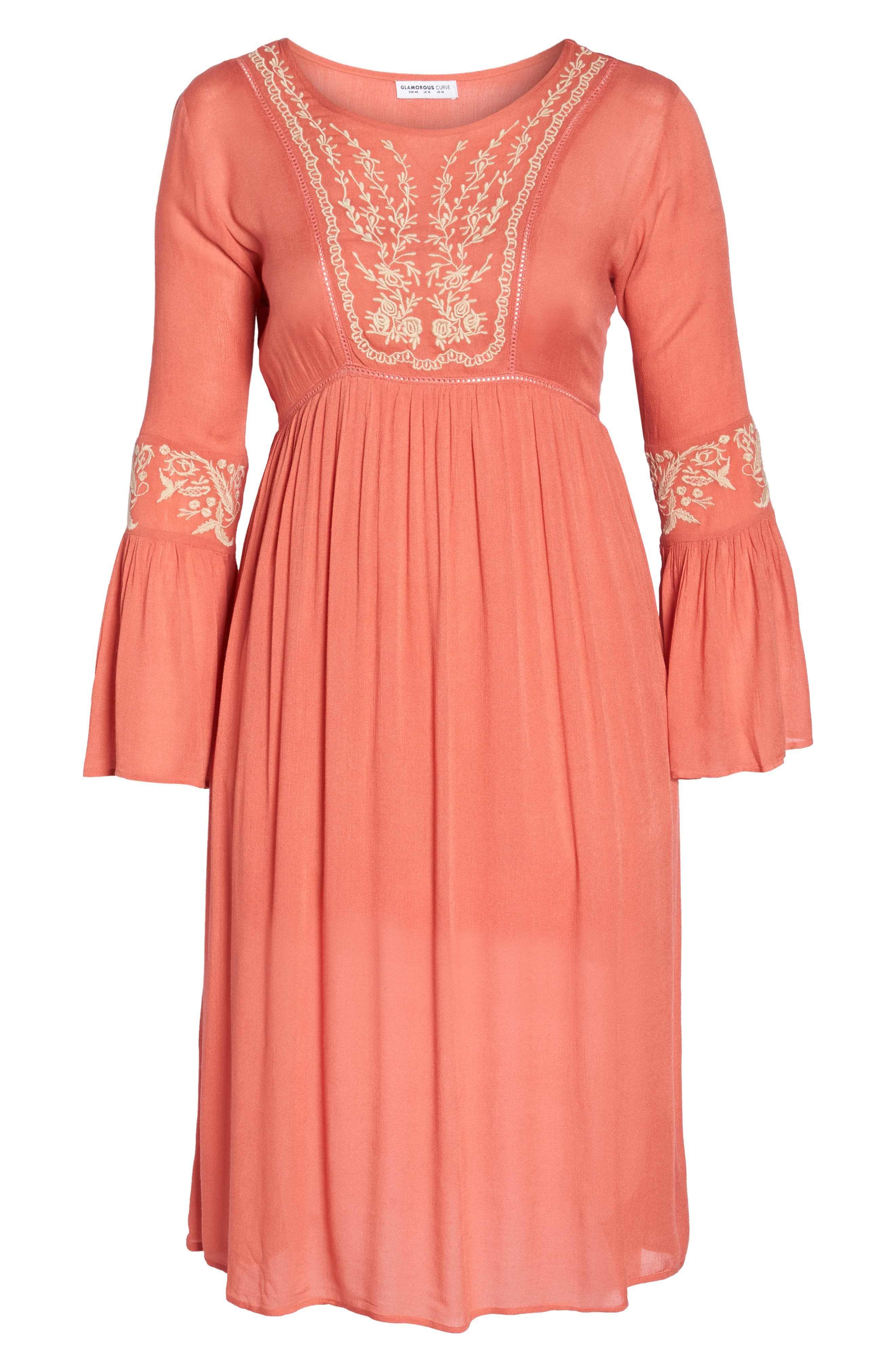 Embroidered Bell Sleeve Midi Dress,                             Alternate thumbnail 7, color,                             950