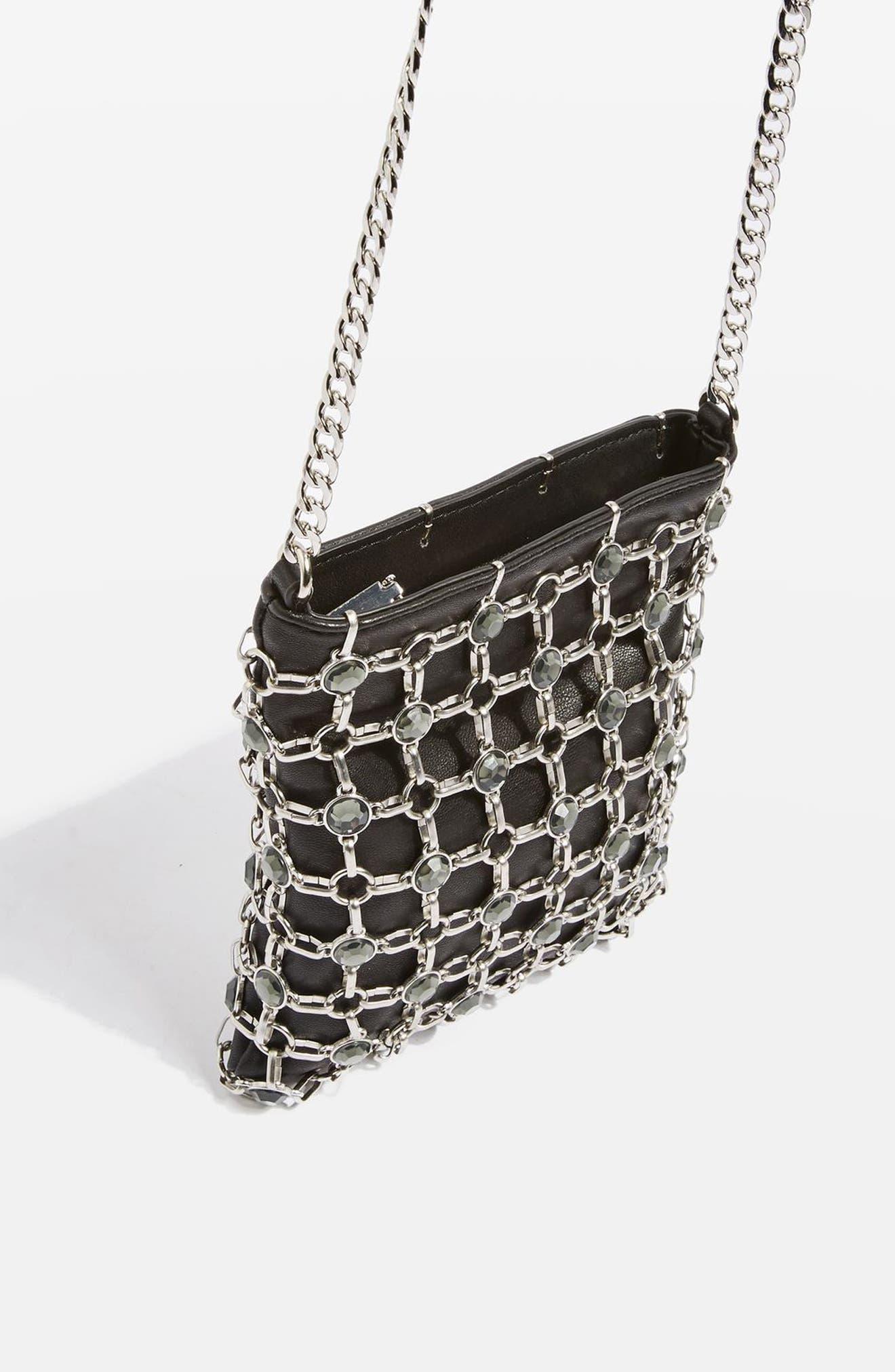 Chain Link Crossbody Bag,                             Alternate thumbnail 3, color,                             001