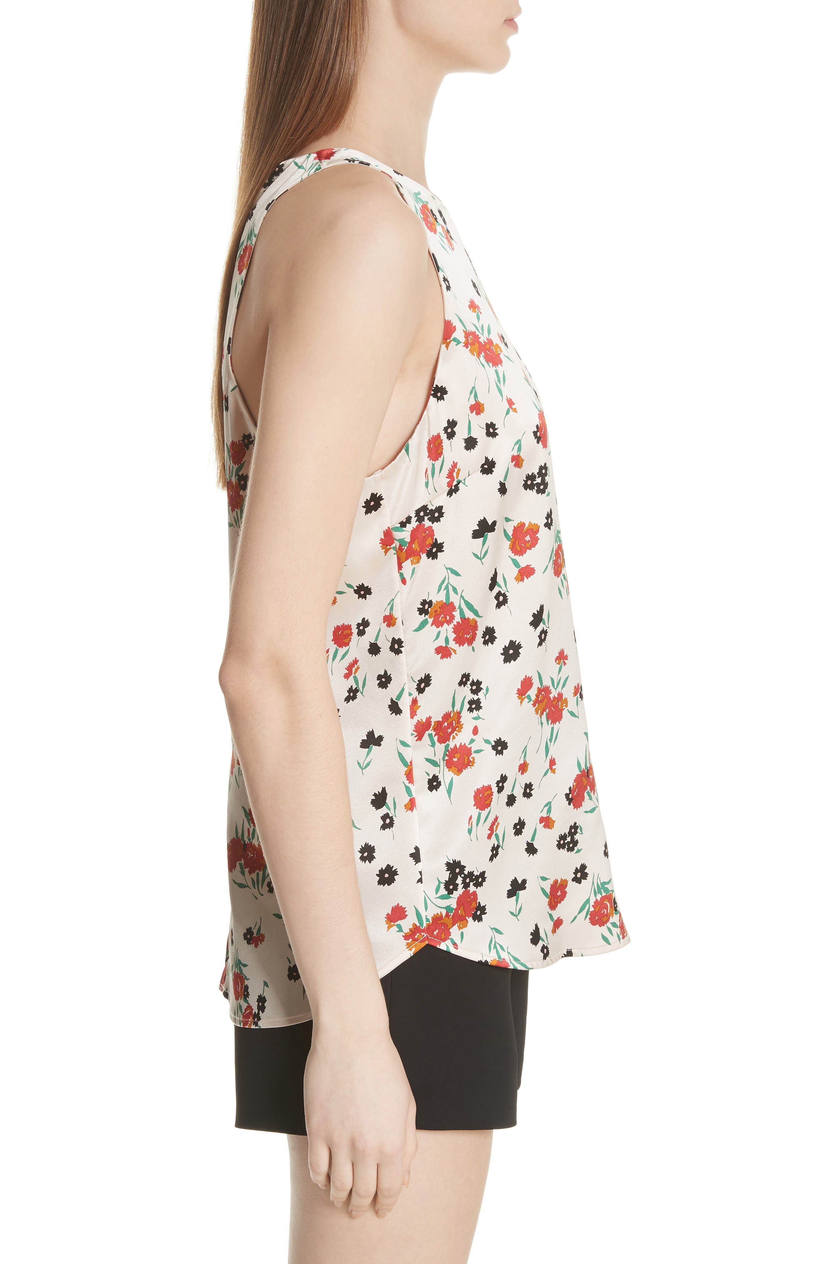 Ansie Floral Print Stretch Silk Top,                             Alternate thumbnail 3, color,                             PINK/ GREEN/ RED