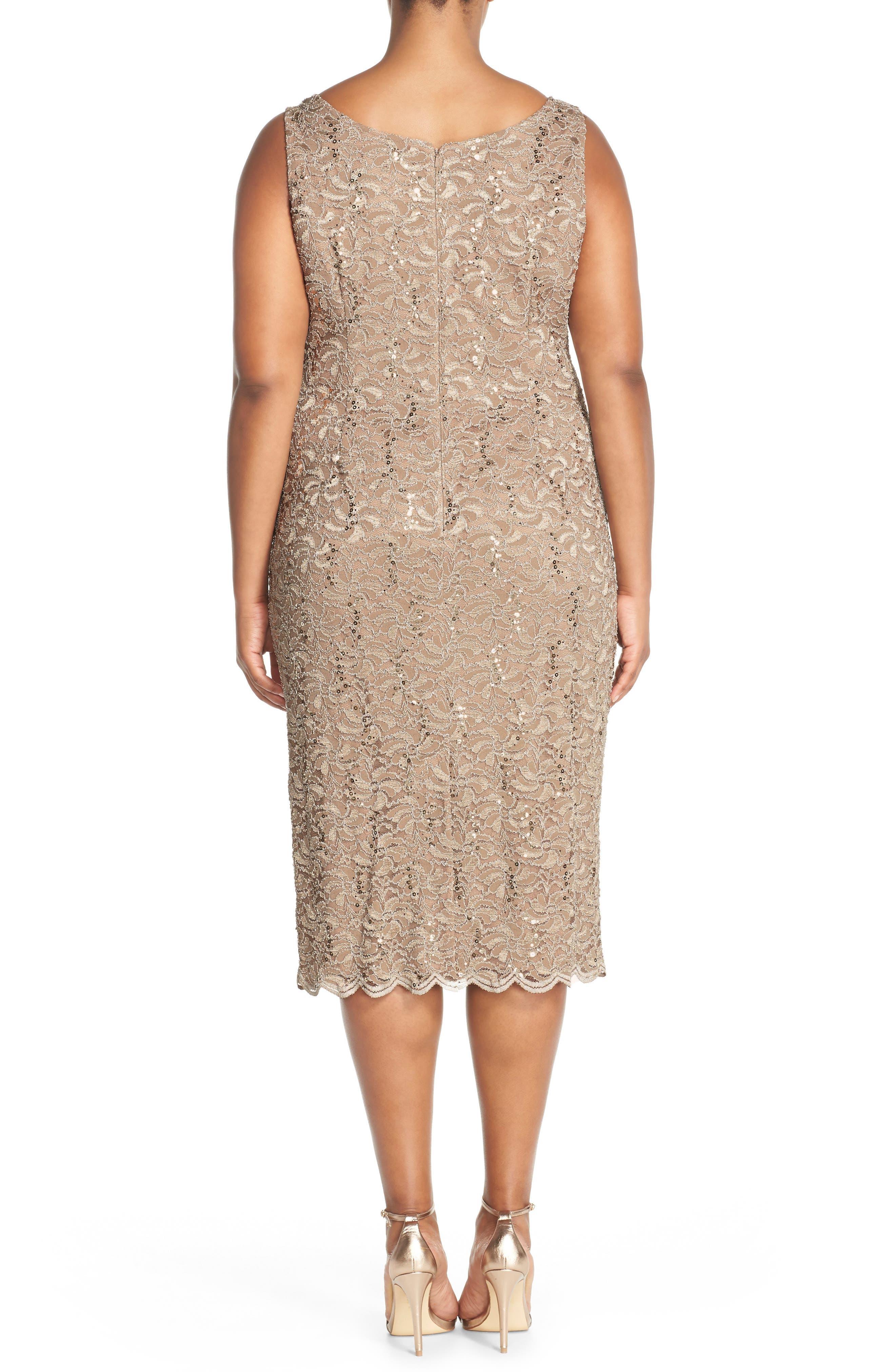 Plus Size Alex Evenings Lace Dress & Jacket, Brown