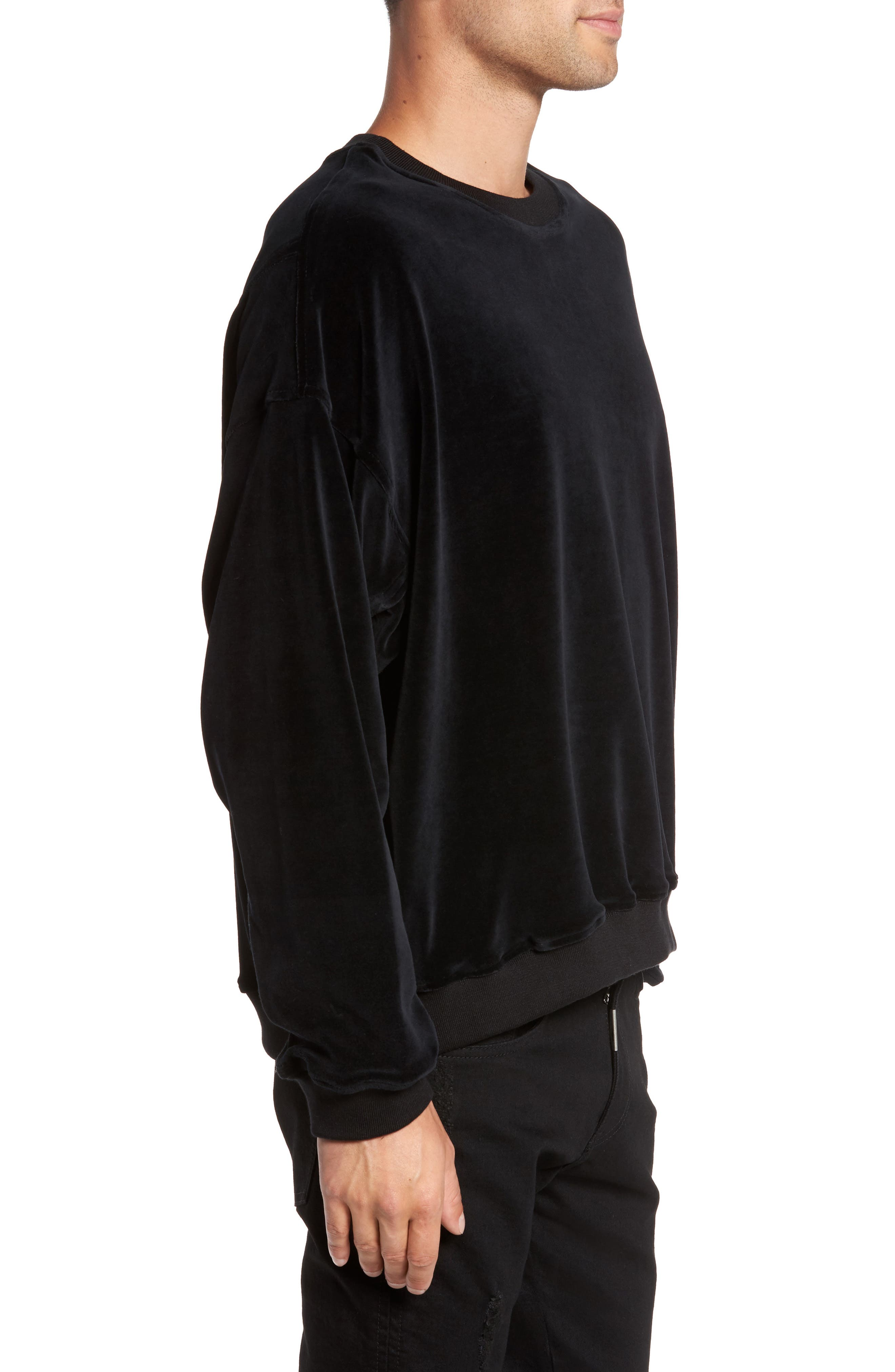 Relaxed Fit Velour Sweater,                             Alternate thumbnail 3, color,                             001
