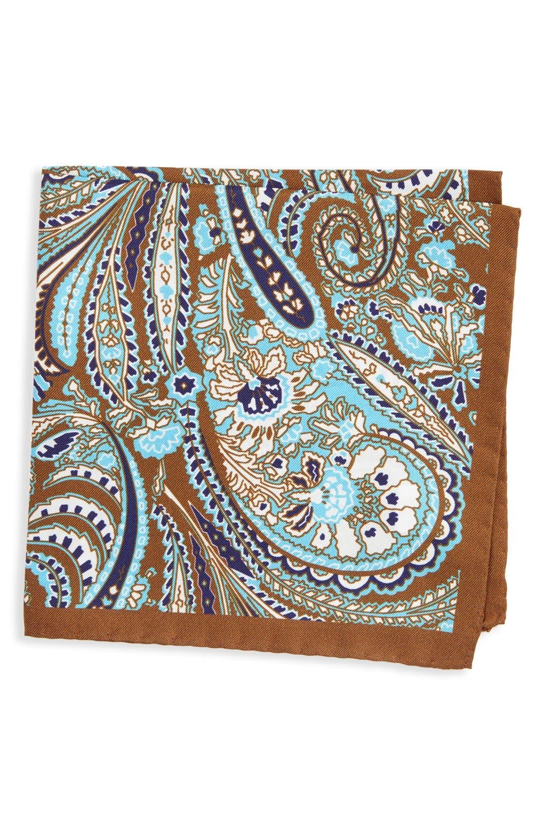 Paisley Silk Pocket Square,                             Main thumbnail 1, color,                             200