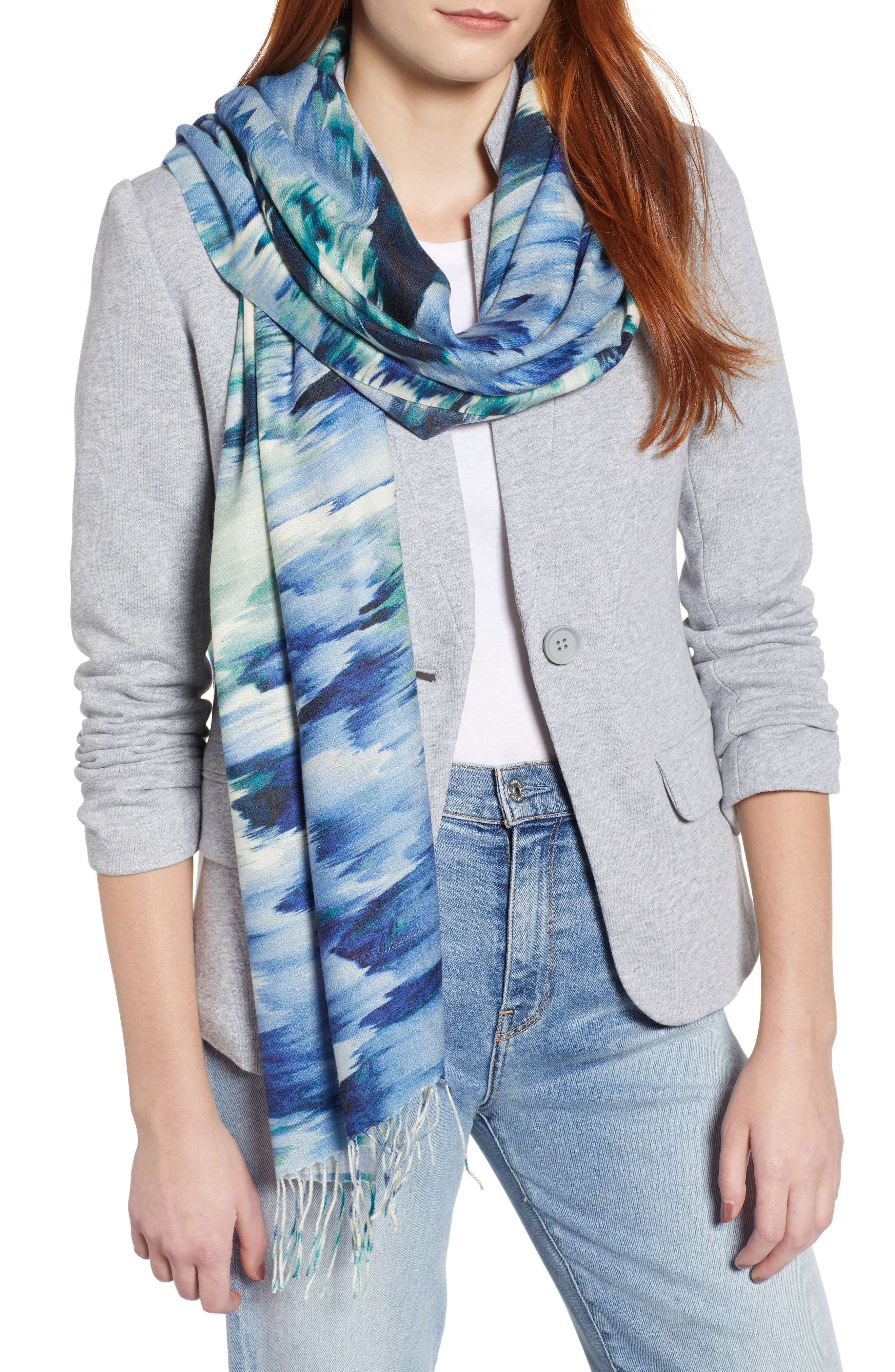 Tissue Print Wool & Cashmere Wrap Scarf,                         Main,                         color, BLUE COLOR FADE