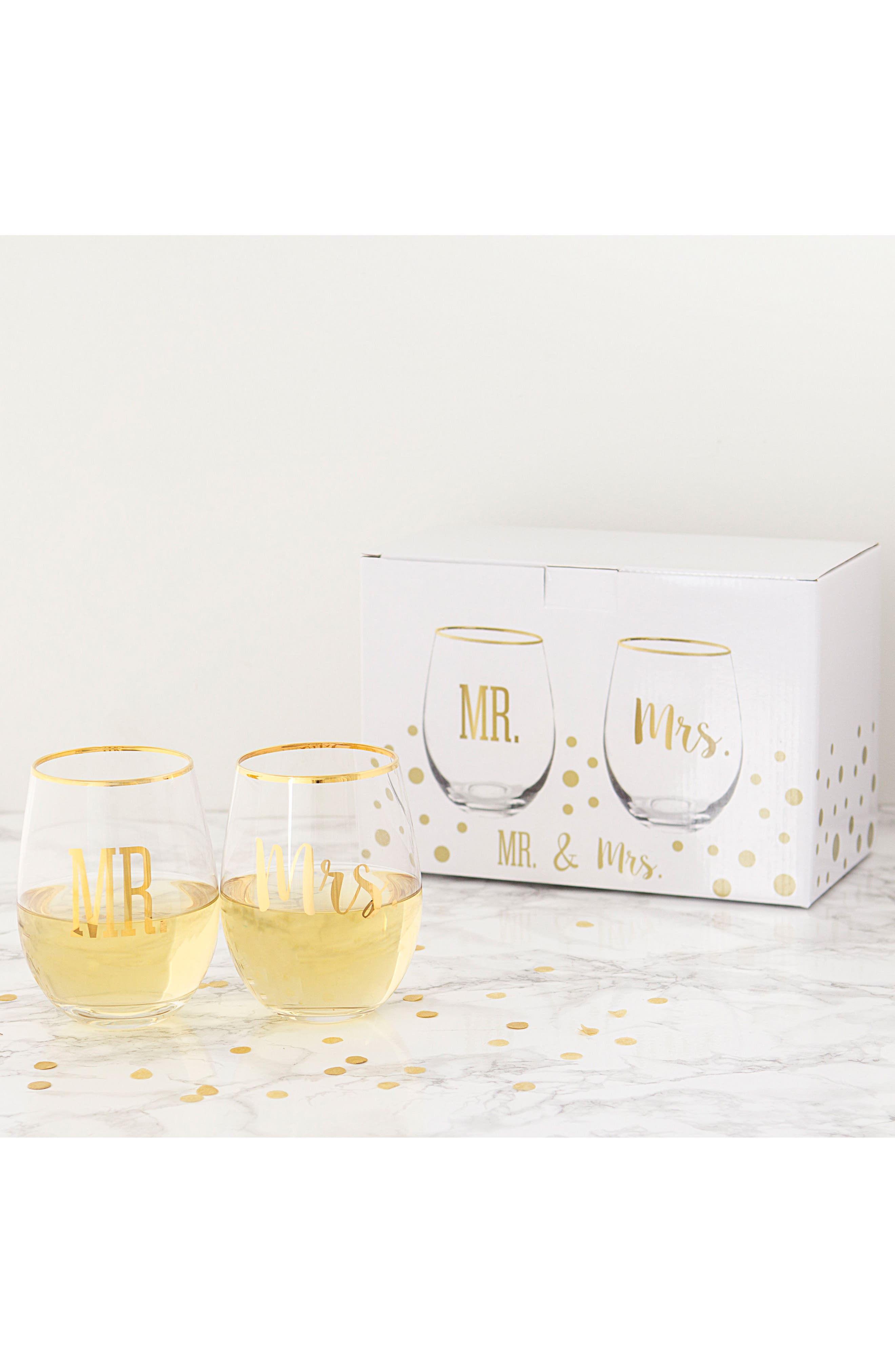 Mr. & Mrs. Set of 2 Stemless Wine Glasses,                             Alternate thumbnail 4, color,                             710