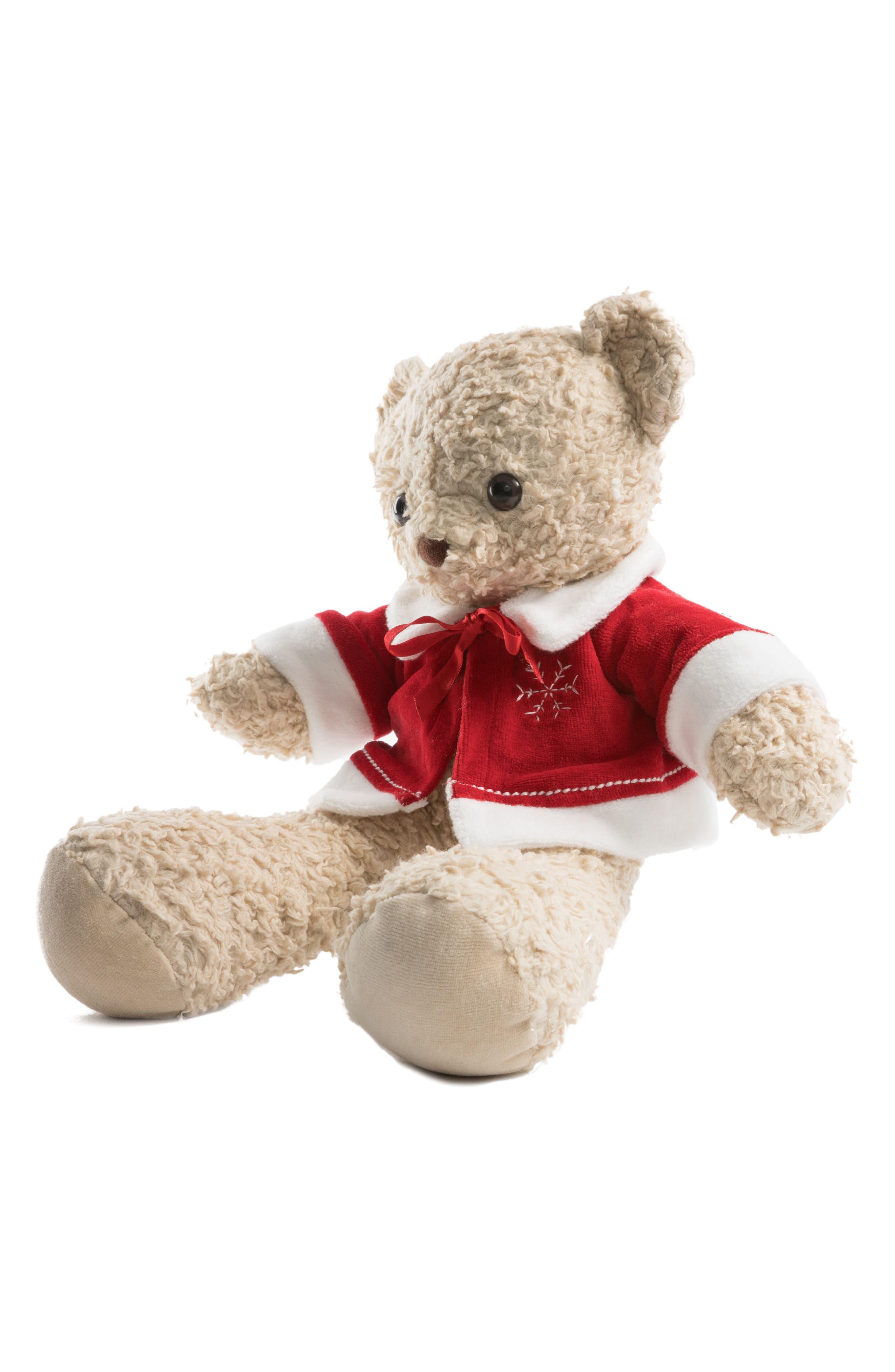 Medium Stuffed Bear with Holiday Jacket,                             Alternate thumbnail 9, color,