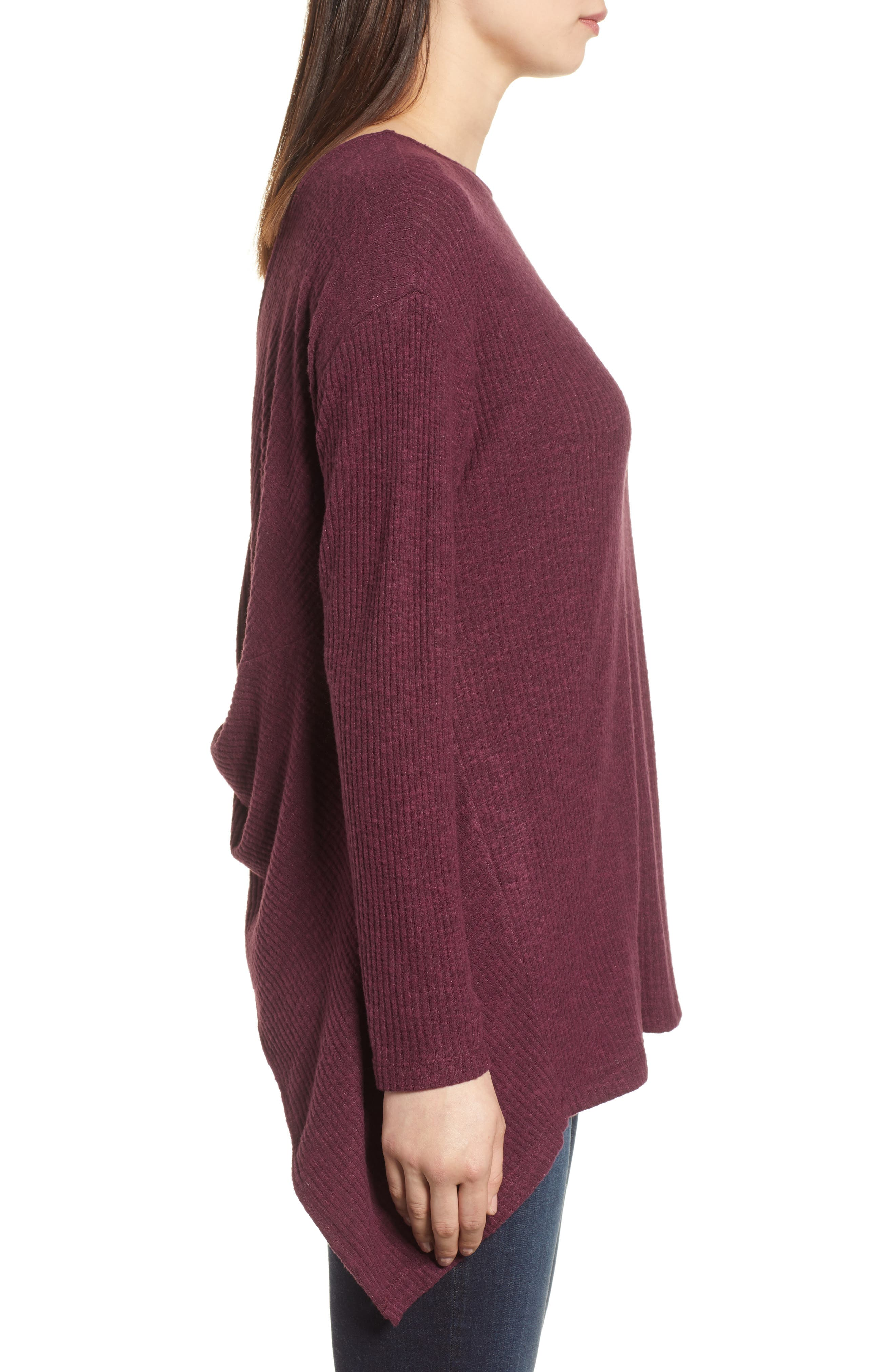 Ribbed Cozy Fleece Twist Back Top,                             Alternate thumbnail 12, color,