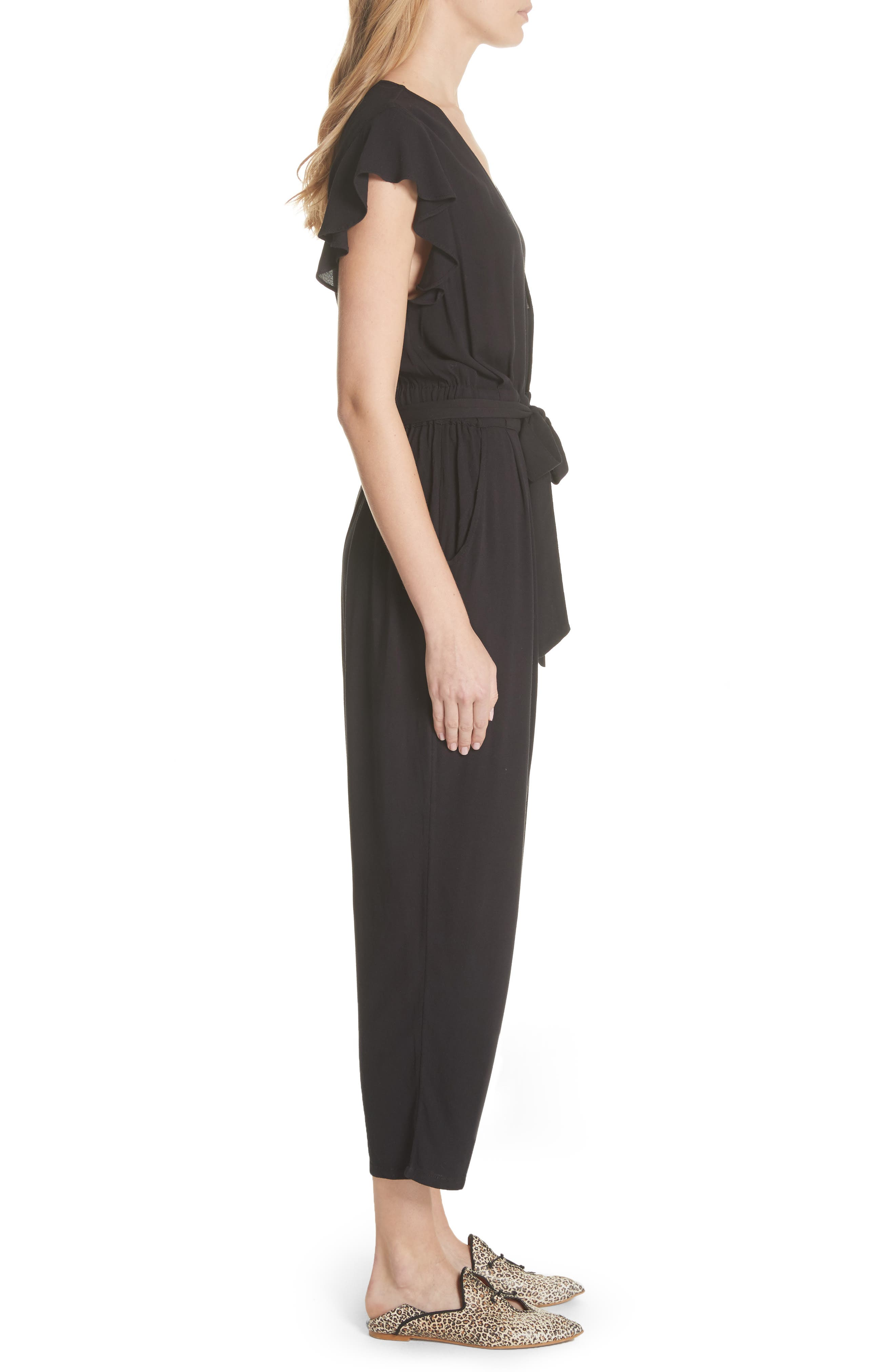 FREE PEOPLE,                             Ruffle Your Feather Jumpsuit,                             Alternate thumbnail 3, color,                             001