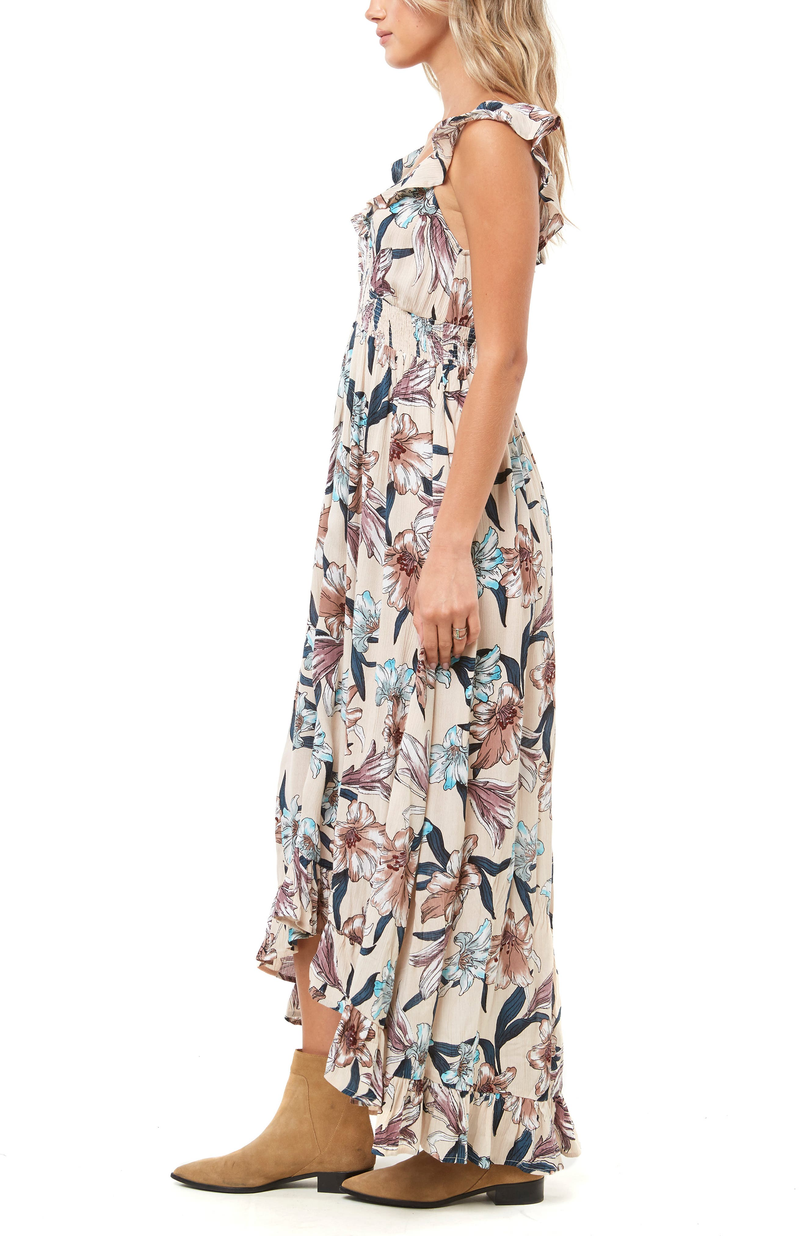 Cleo Ruffle Maxi Dress,                             Alternate thumbnail 3, color,                             MULTI COLORED