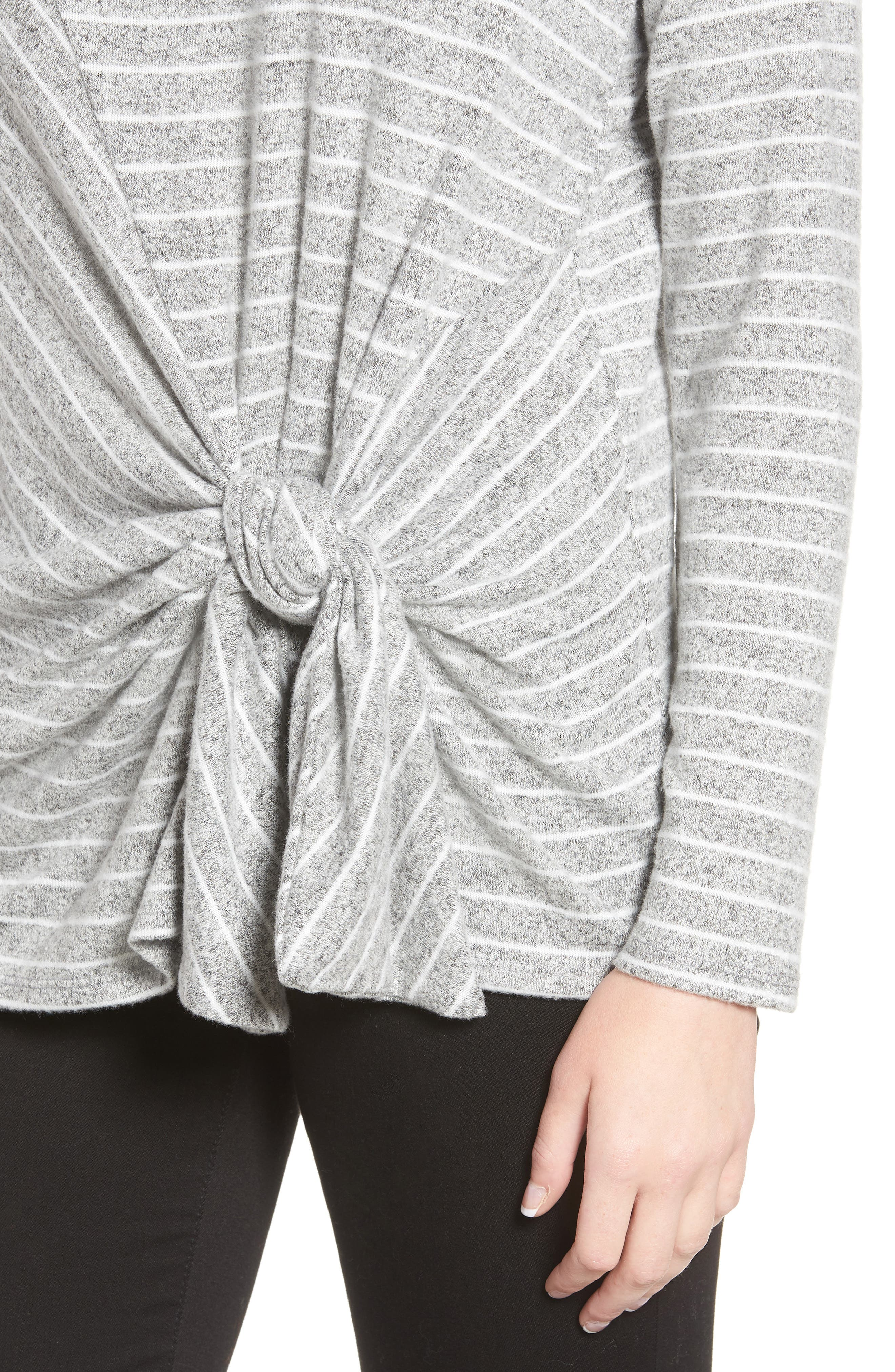 x Living in Yellow Lou Tie Front Fleece Sweater,                             Alternate thumbnail 4, color,                             GREY/ IVORY