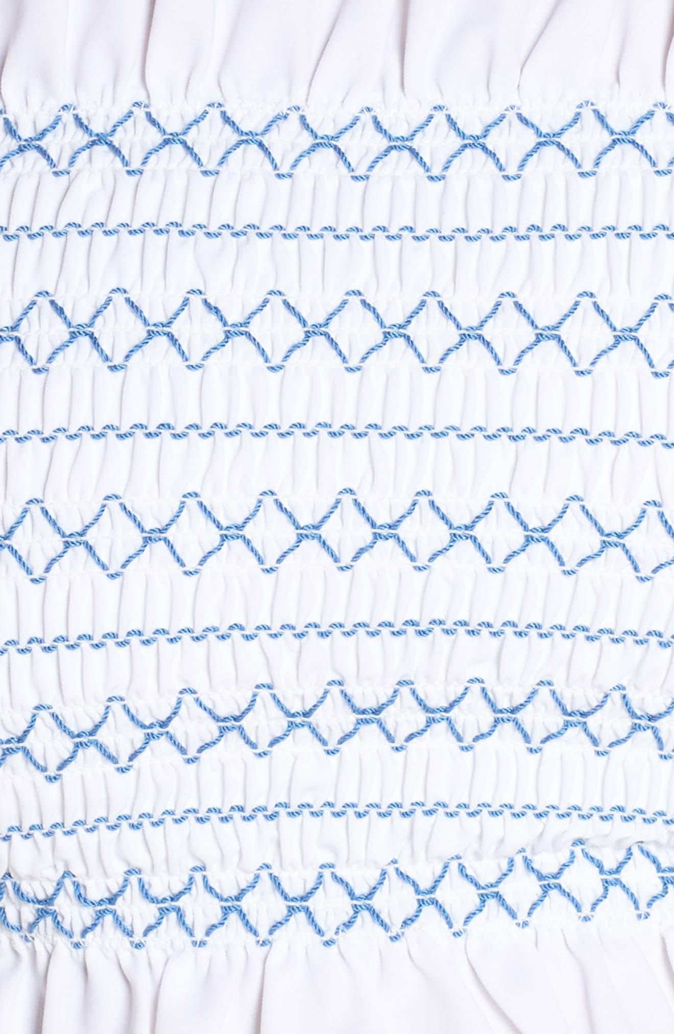 Costa Bandeau Bikini Top,                             Alternate thumbnail 5, color,                             WHITE / BLUE DUSK