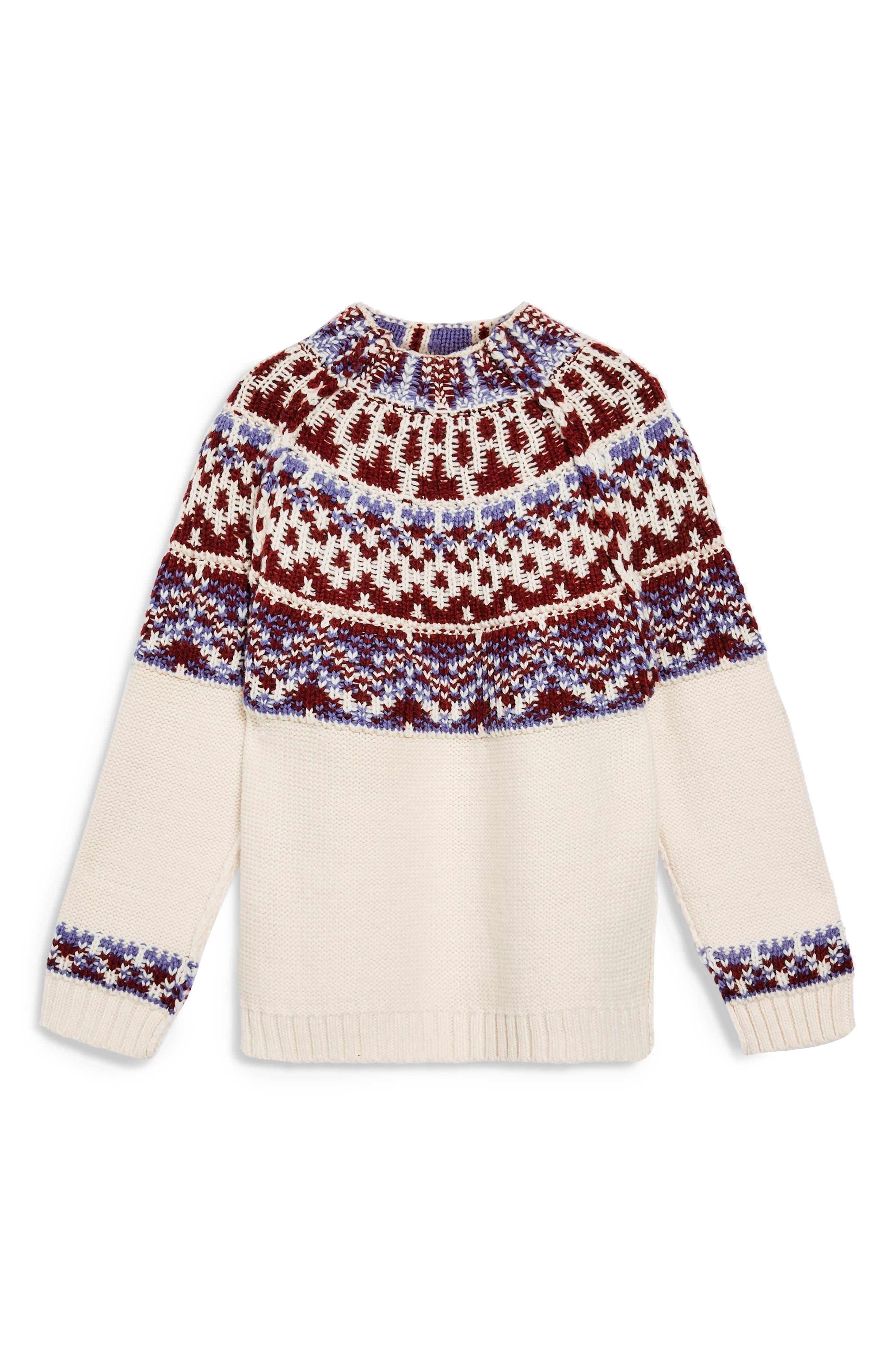 Reverse Fair Isle Sweater,                             Alternate thumbnail 5, color,                             OATMEAL MULTI