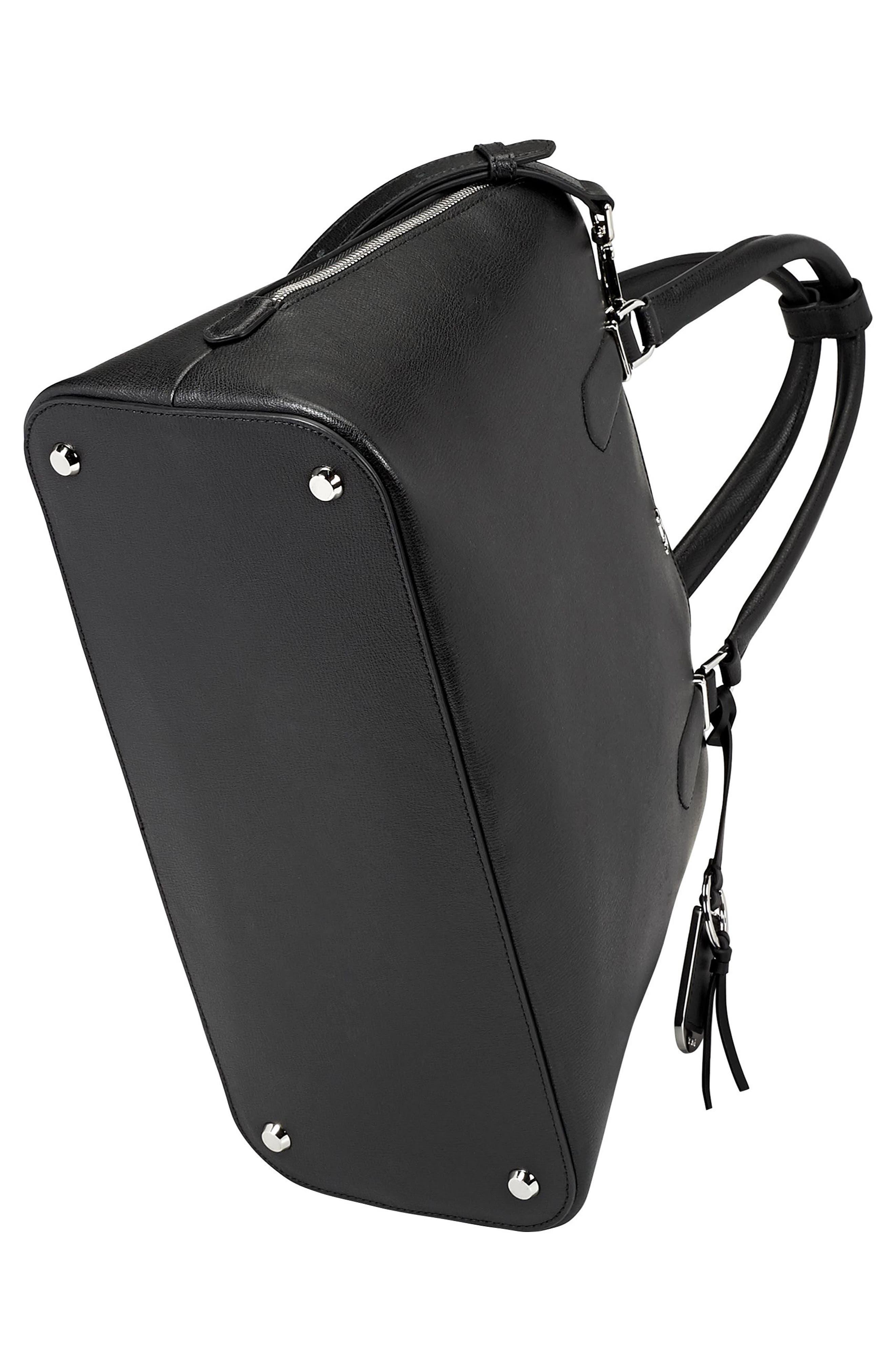 Stanton – Deonne Domed Leather Satchel,                             Alternate thumbnail 5, color,                             001